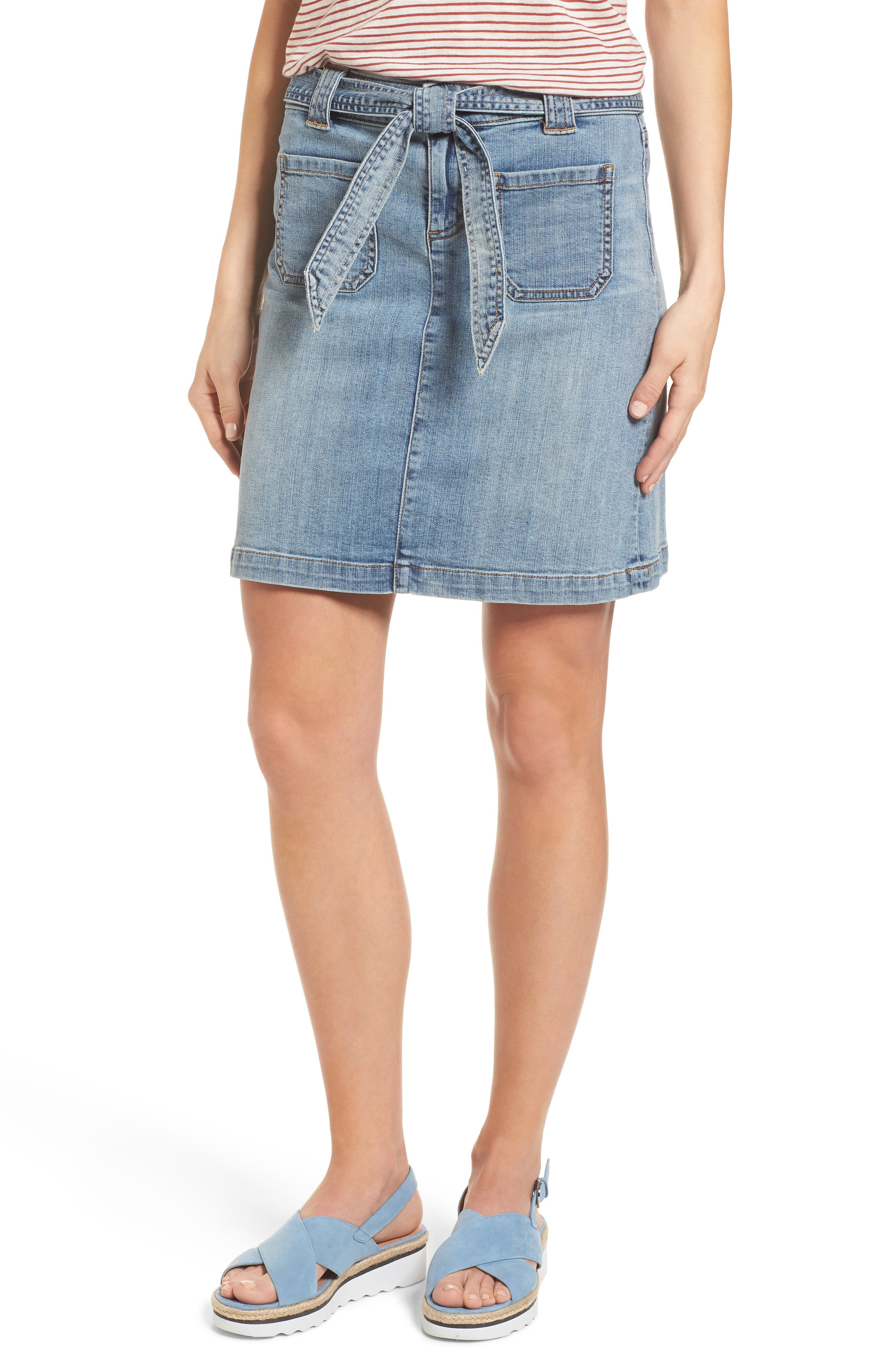 Belted Stretch Denim Skirt,                             Main thumbnail 1, color,                             Galactic Wash