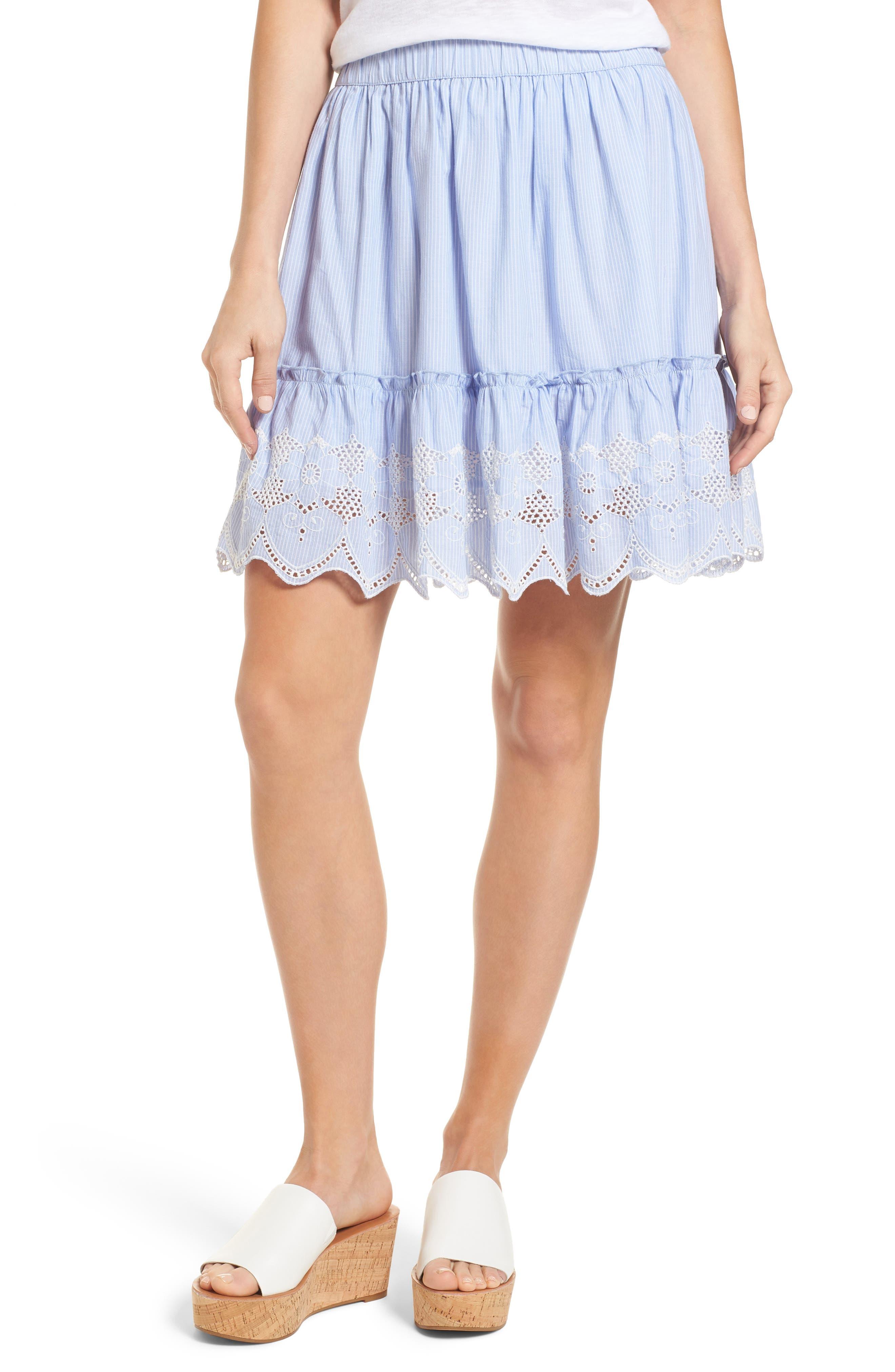 Caslon® Embroidered Hem Cotton Pinstripe Skirt (Regular & Petite)