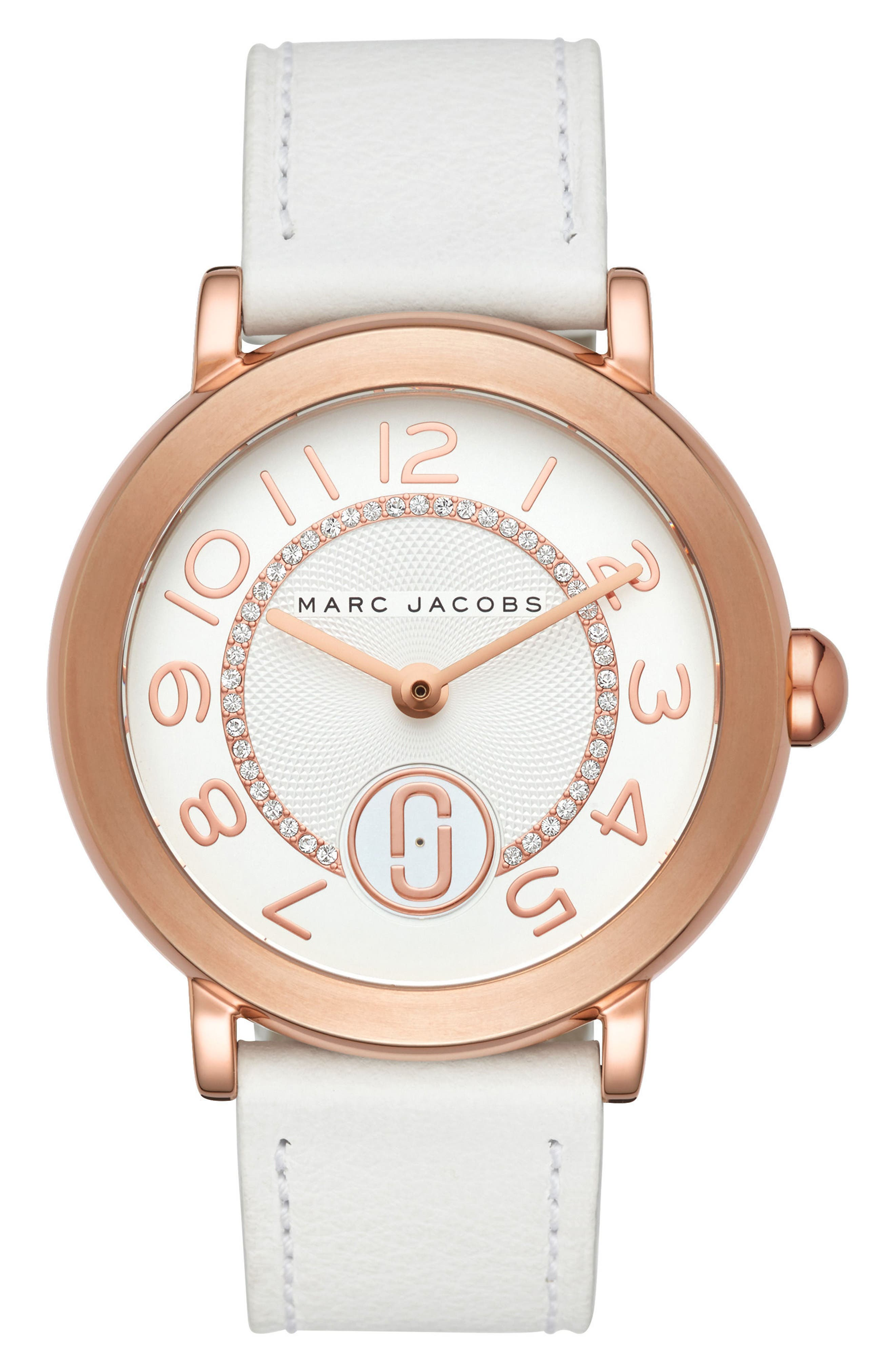 Riley Leather Strap Watch, 37mm,                         Main,                         color, White/ Rose Gold