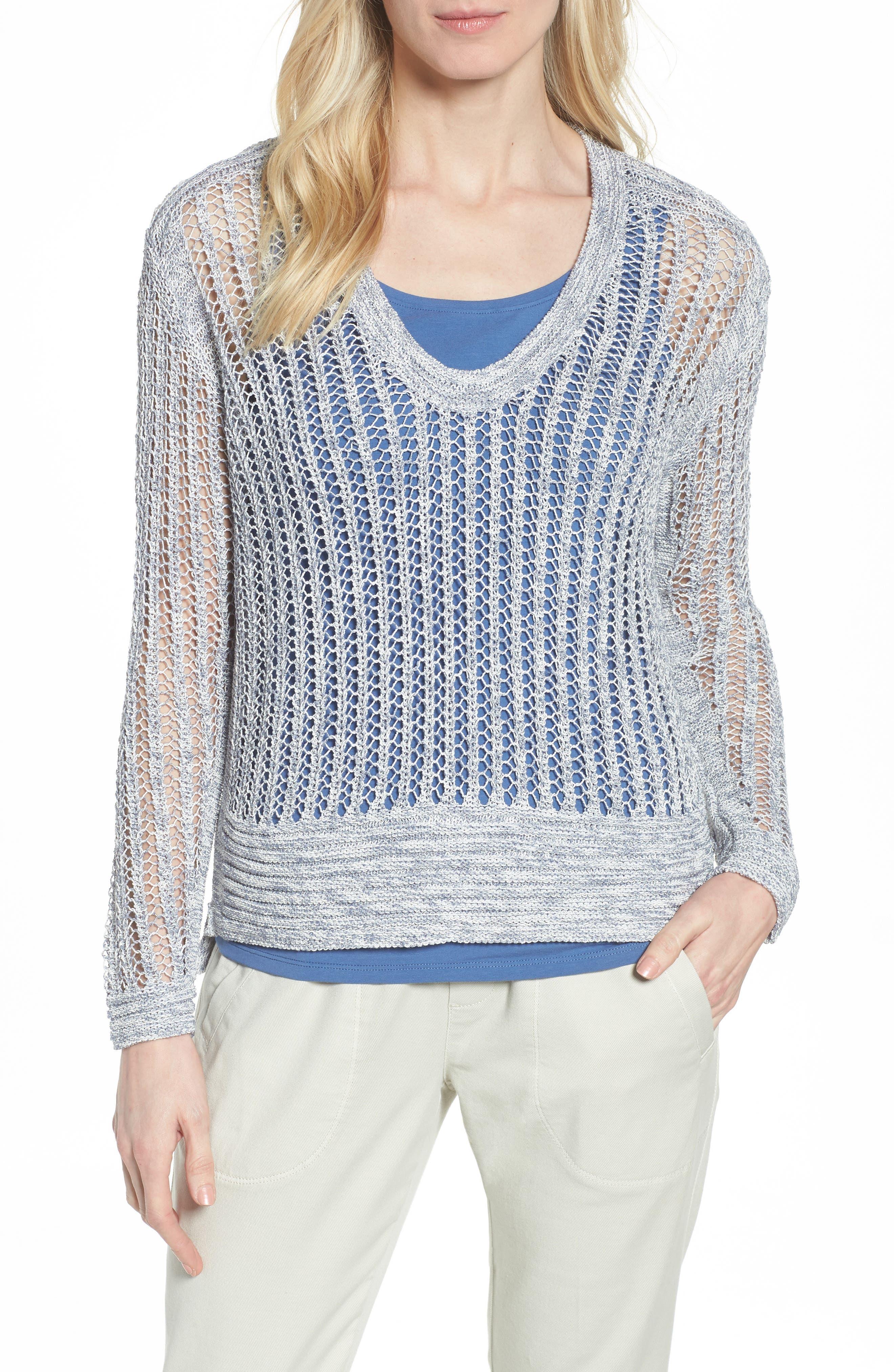 Open Stitch Sweater,                         Main,                         color, Indigo Mix