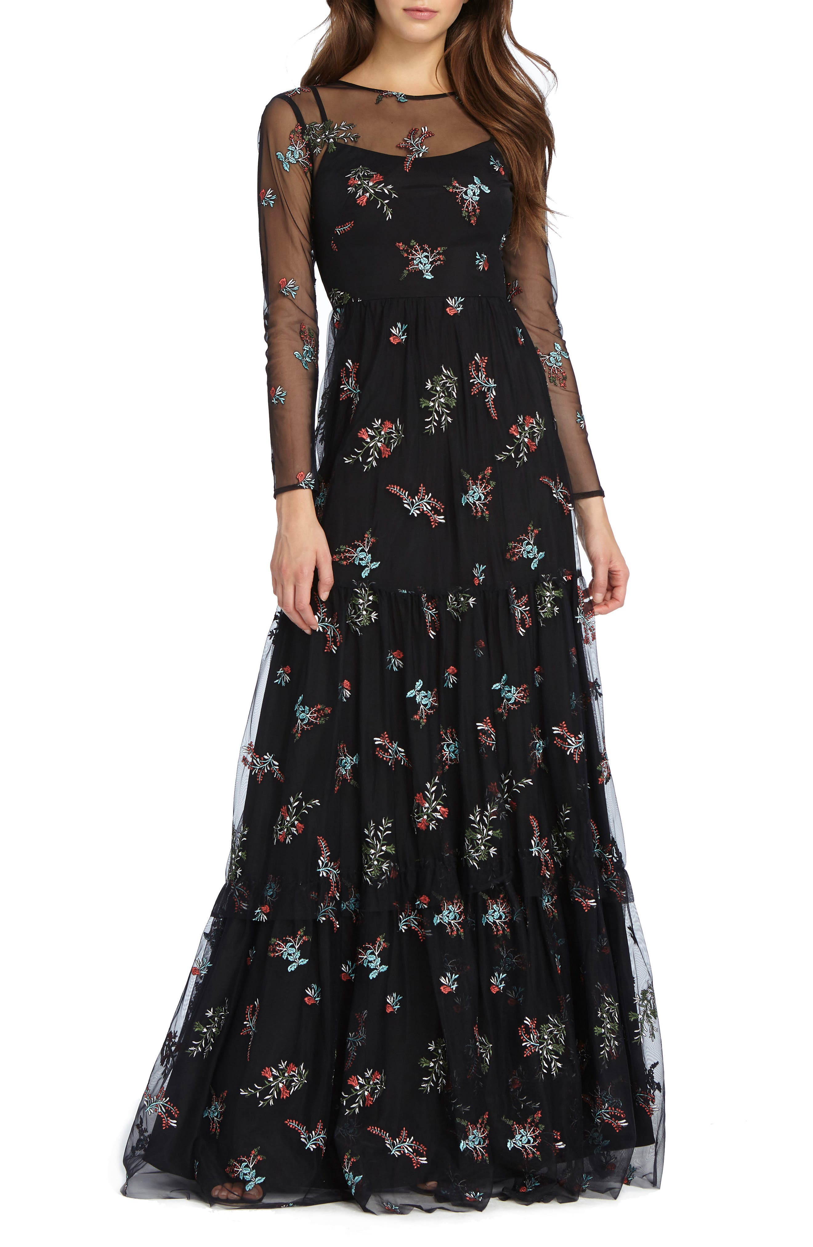 Embroidered Mesh Gown,                             Main thumbnail 1, color,                             Black Combo