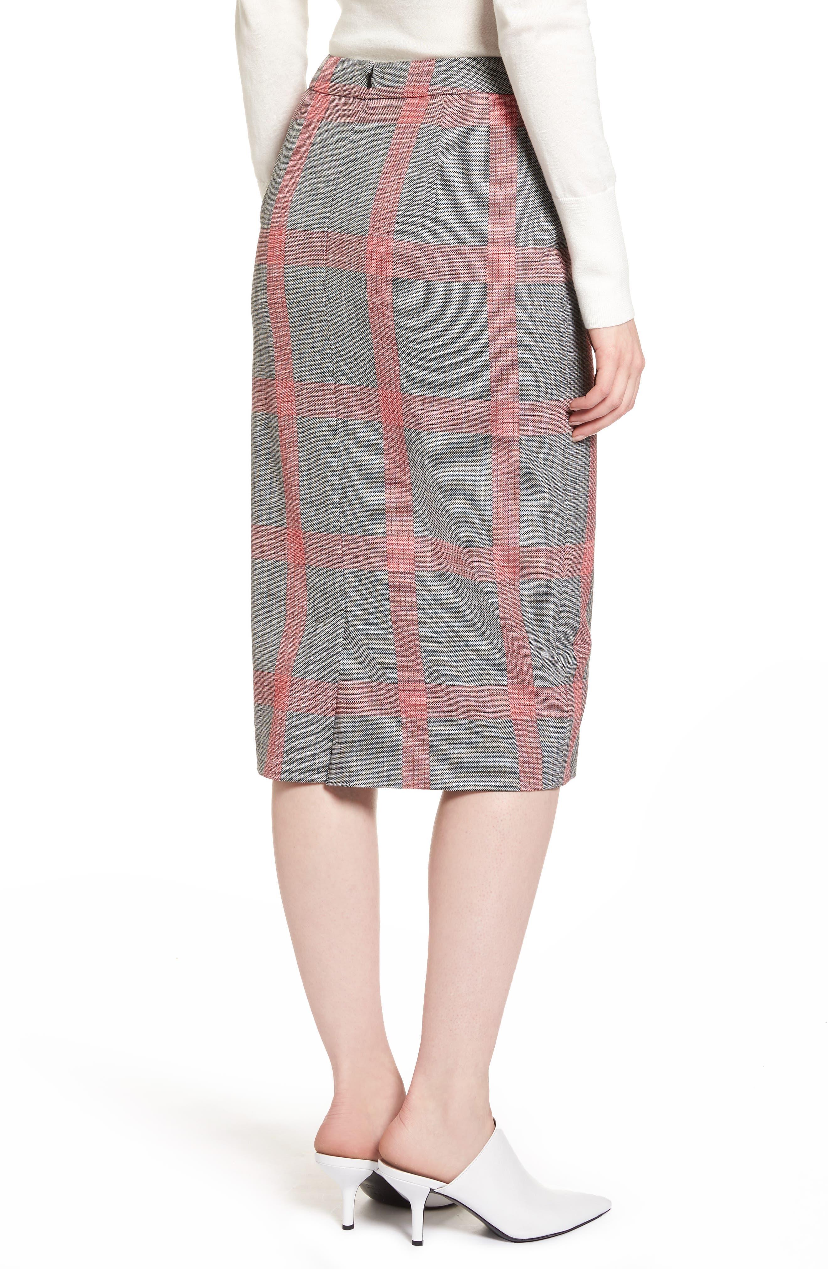 Plaid Pencil Skirt,                             Alternate thumbnail 3, color,                             Black- Red Plaid