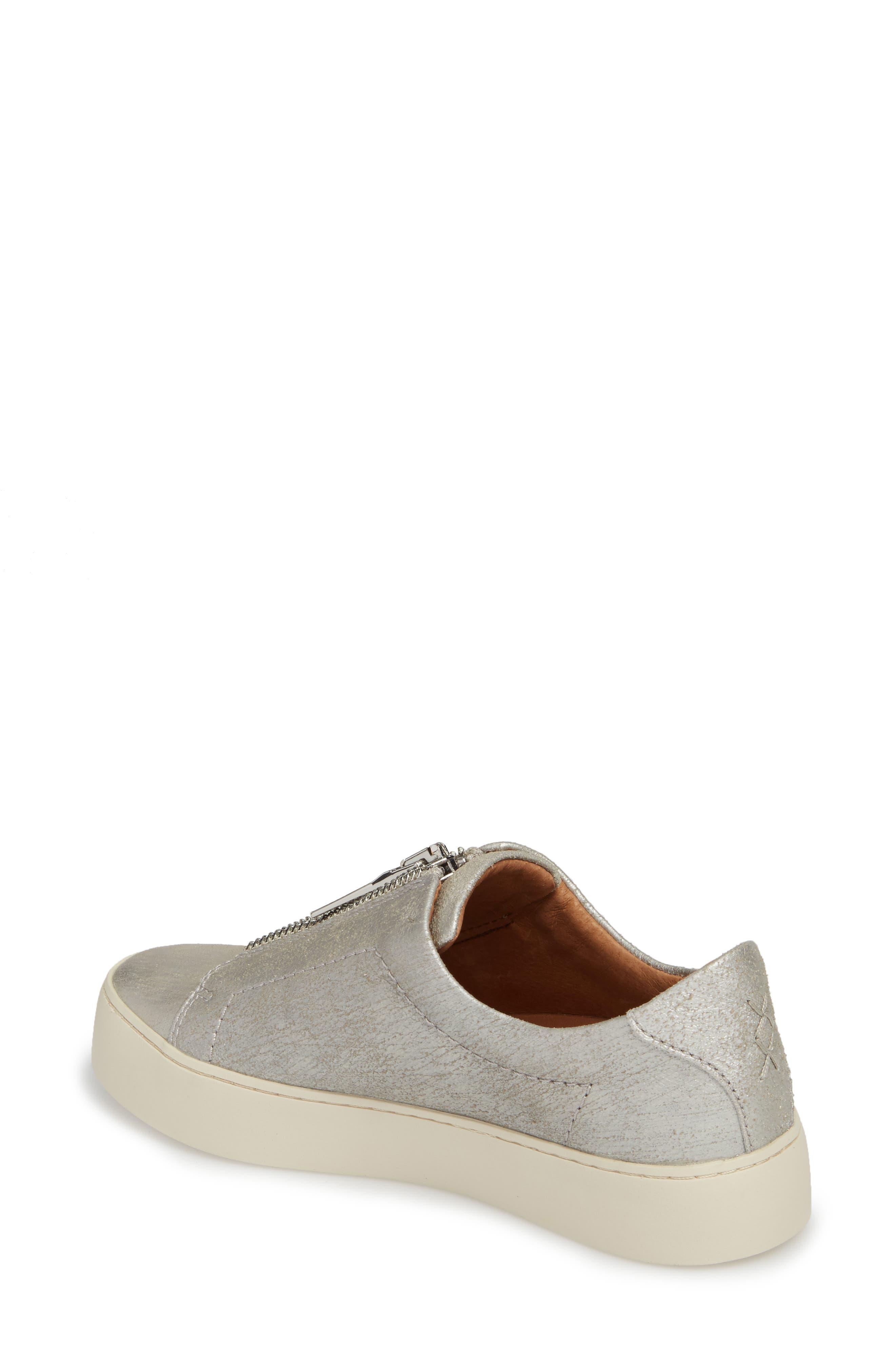Lena Zip Sneaker,                             Alternate thumbnail 2, color,                             Silver Leather