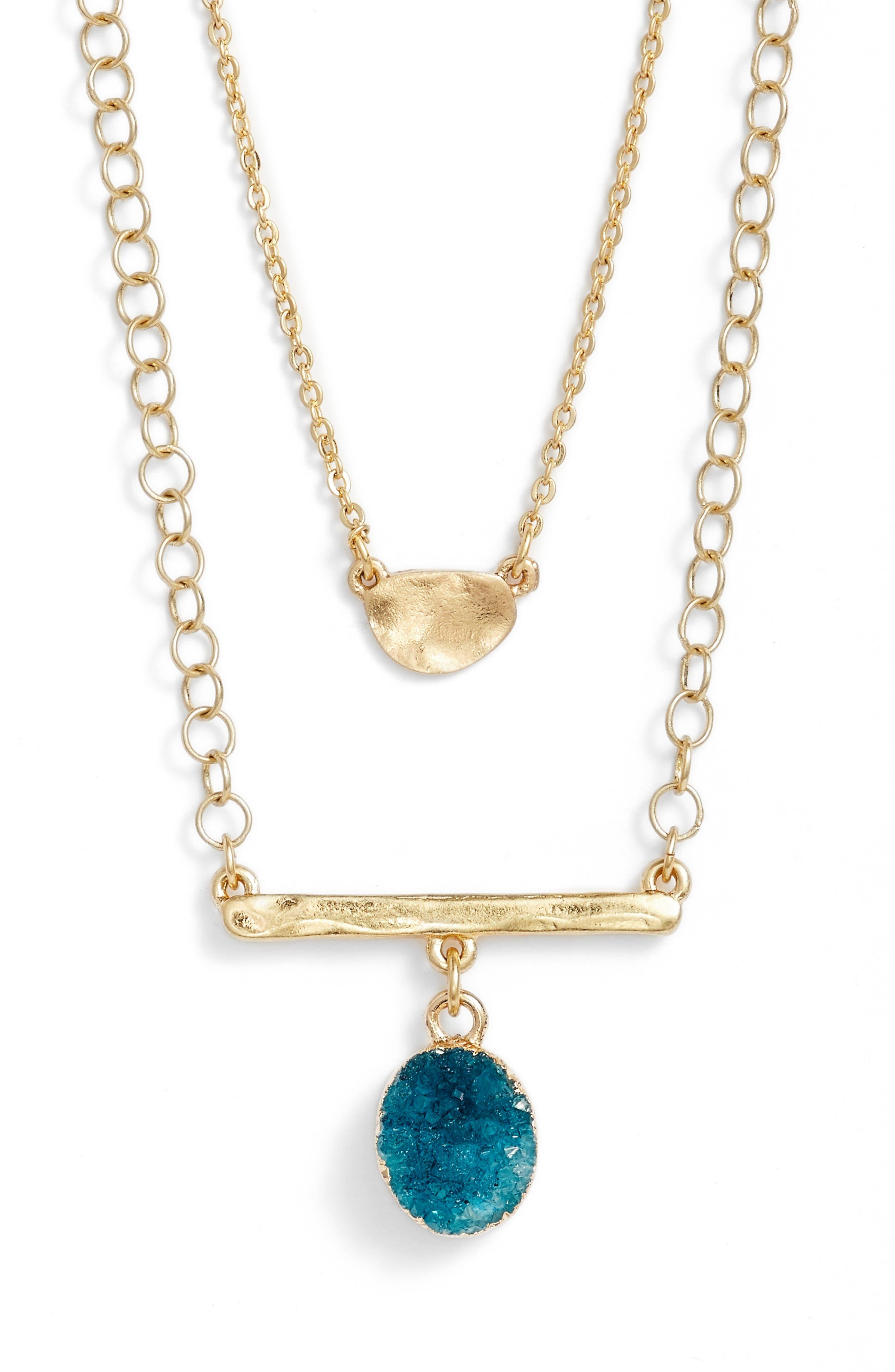 Treasure & Bond Double Drusy Bar Pendant Necklace