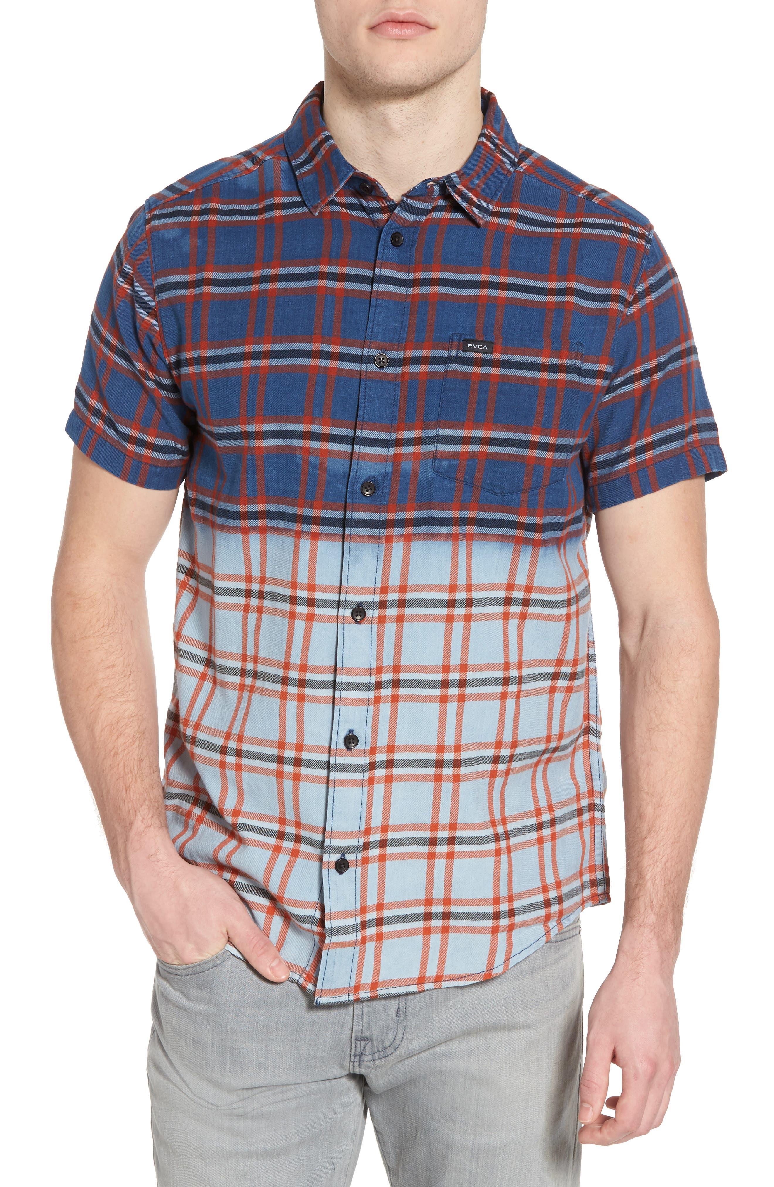 Prismatic Check Woven Shirt,                         Main,                         color, Indigo Bleach