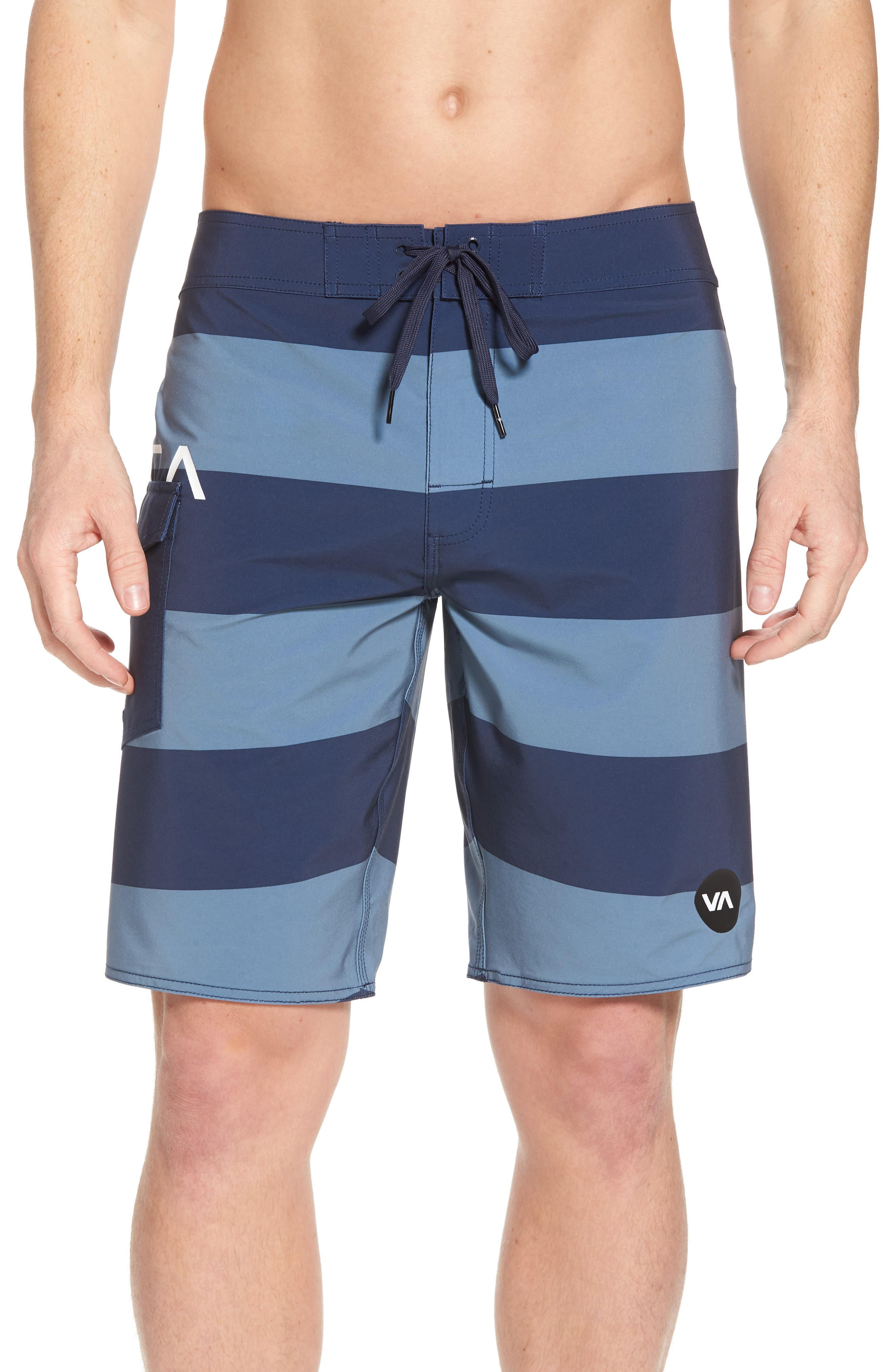 Uncivil Stripe Board Shorts,                         Main,                         color, Classic Indigo