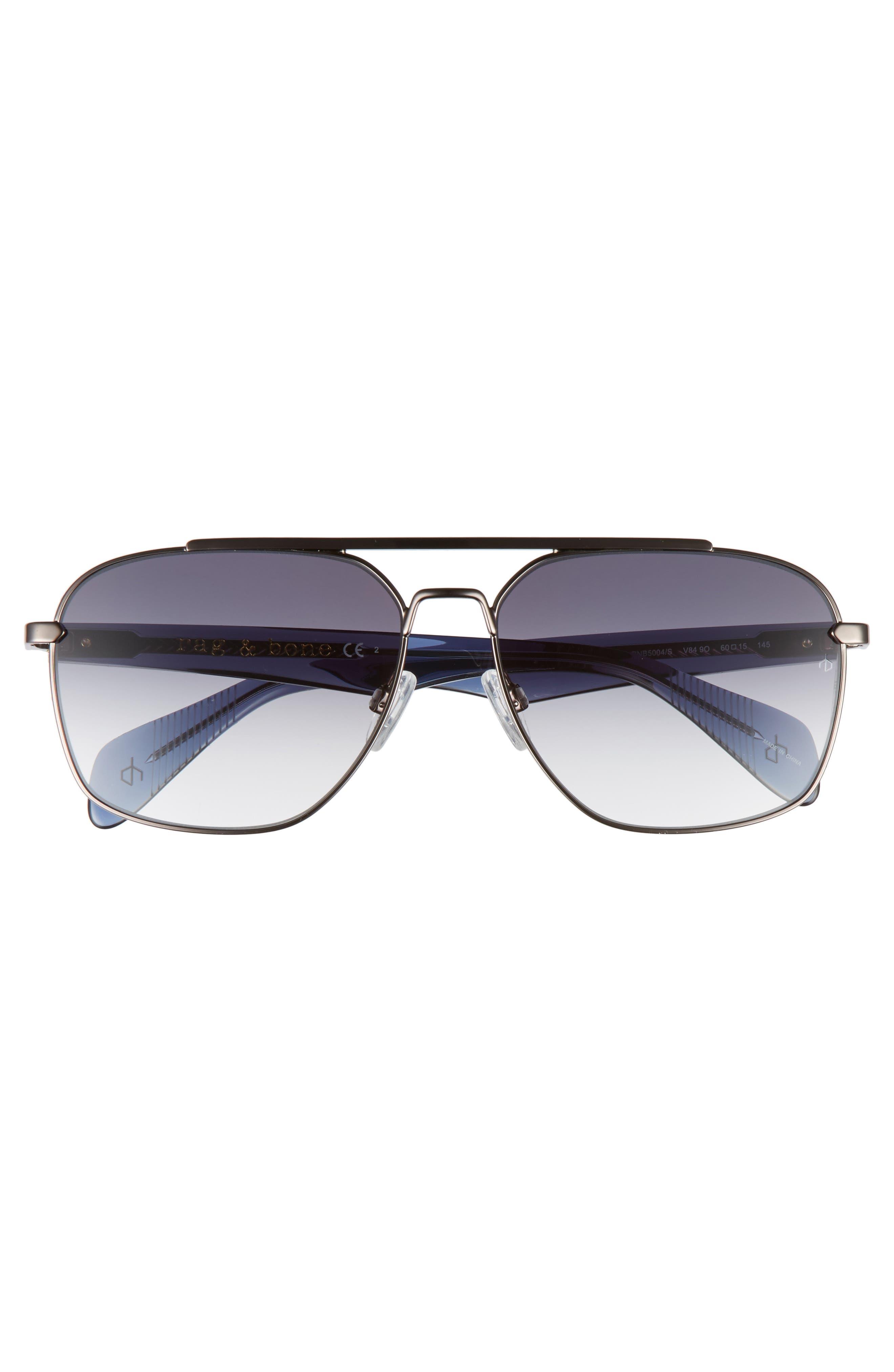 60mm Gradient Navigator Sunglasses,                             Alternate thumbnail 2, color,                             Ruthenium Blue/ Grey