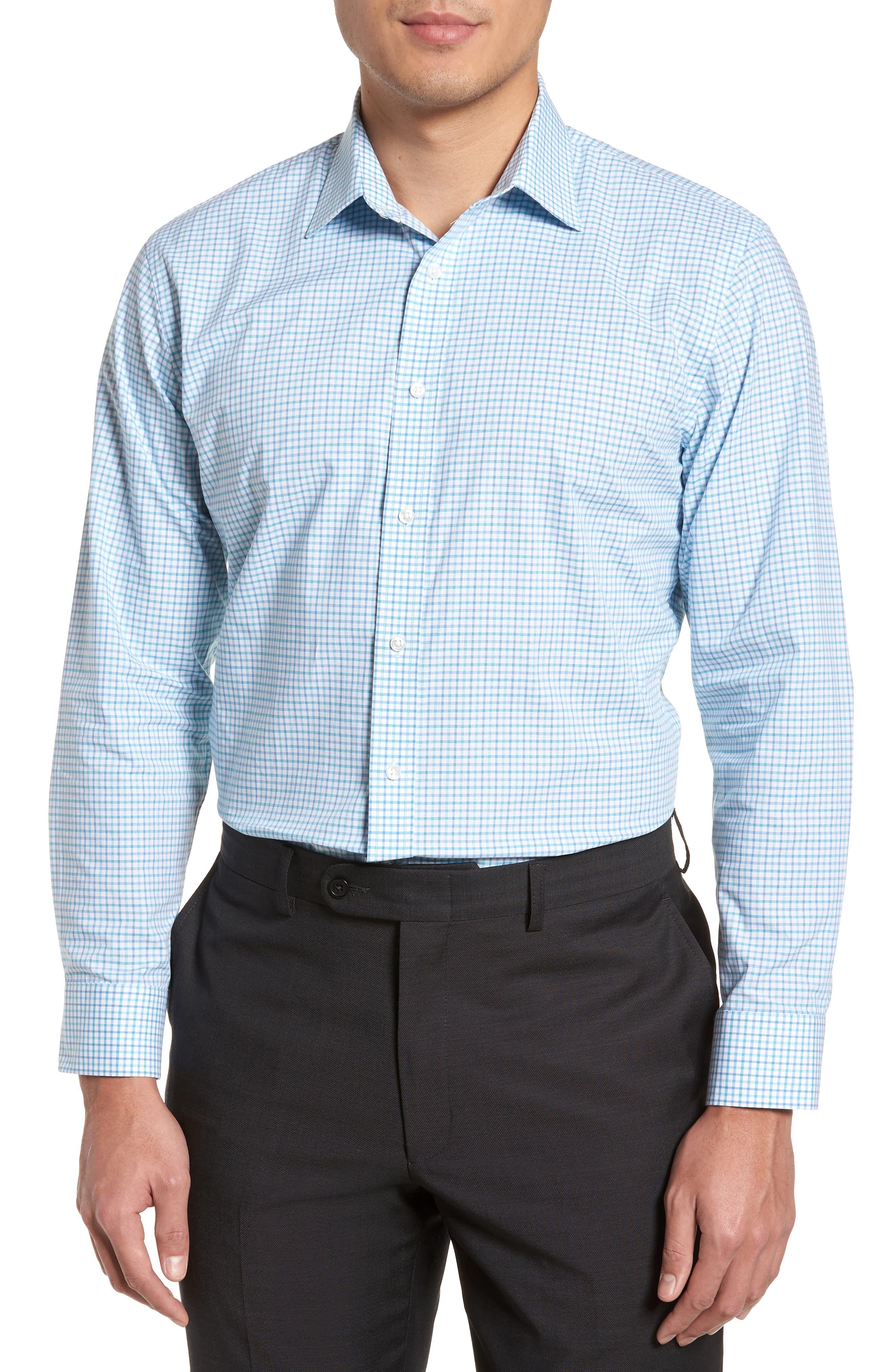 Trim Fit Check Dress Shirt,                         Main,                         color, Teal Veridian