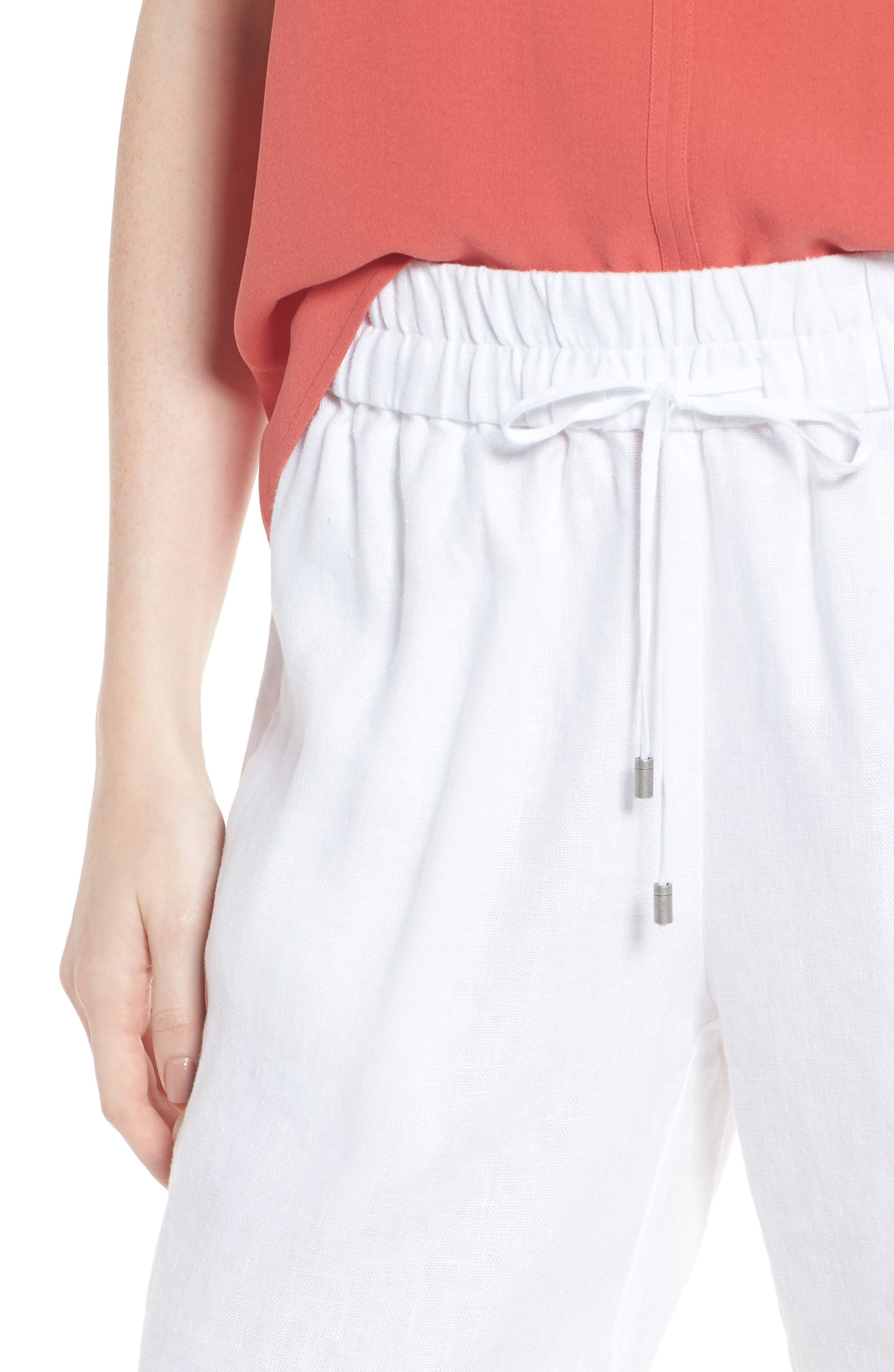 Rolled Organic Linen Shorts,                             Alternate thumbnail 4, color,                             White
