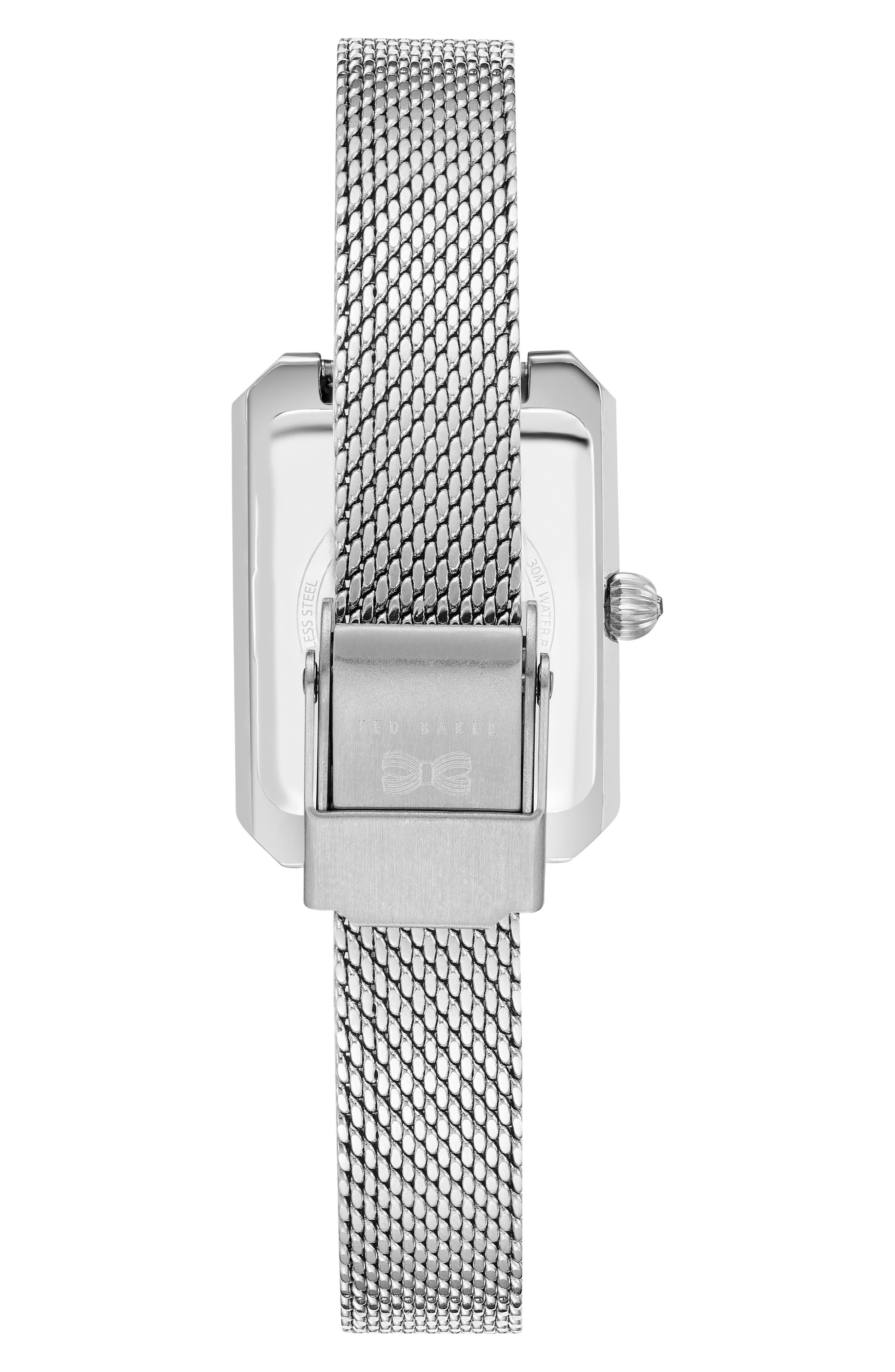 Cara Mesh Strap Watch, 22mm,                             Alternate thumbnail 3, color,                             Silver