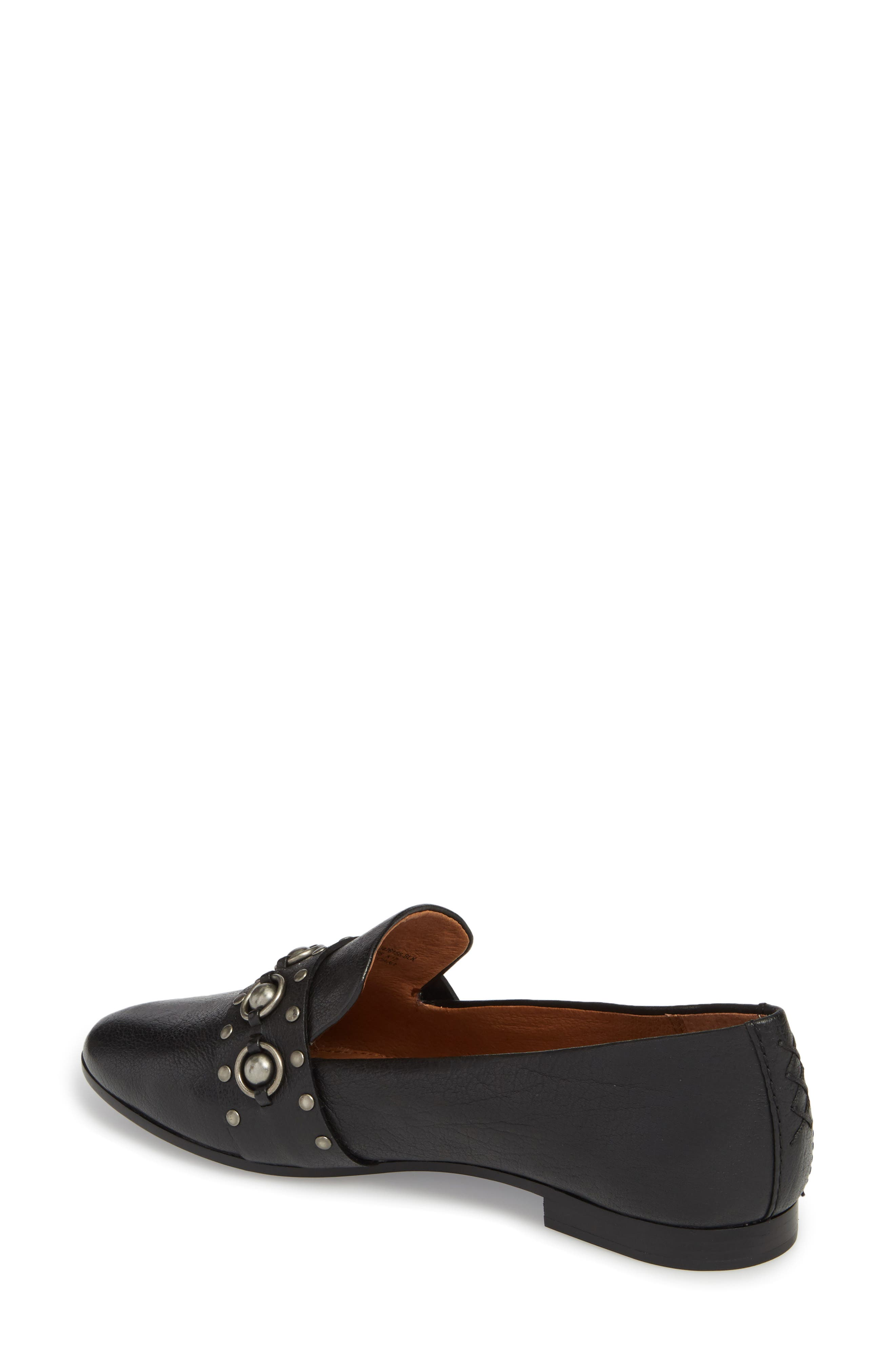 Terri Stud Loafer,                             Alternate thumbnail 2, color,                             Black Leather