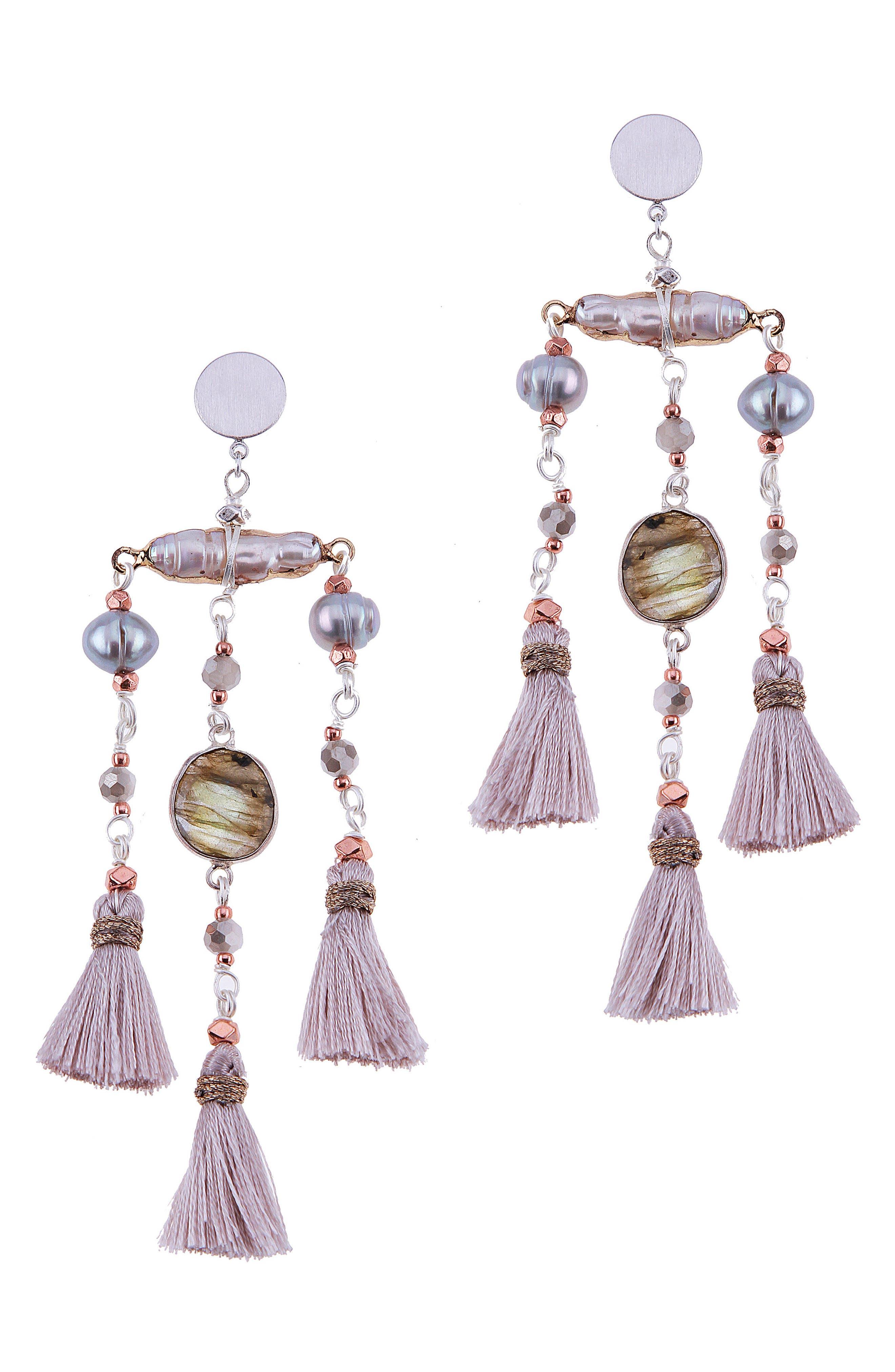 Labradorite & Freshwater Pearl Triple Mini Tassel Earrings,                             Main thumbnail 1, color,                             Grey