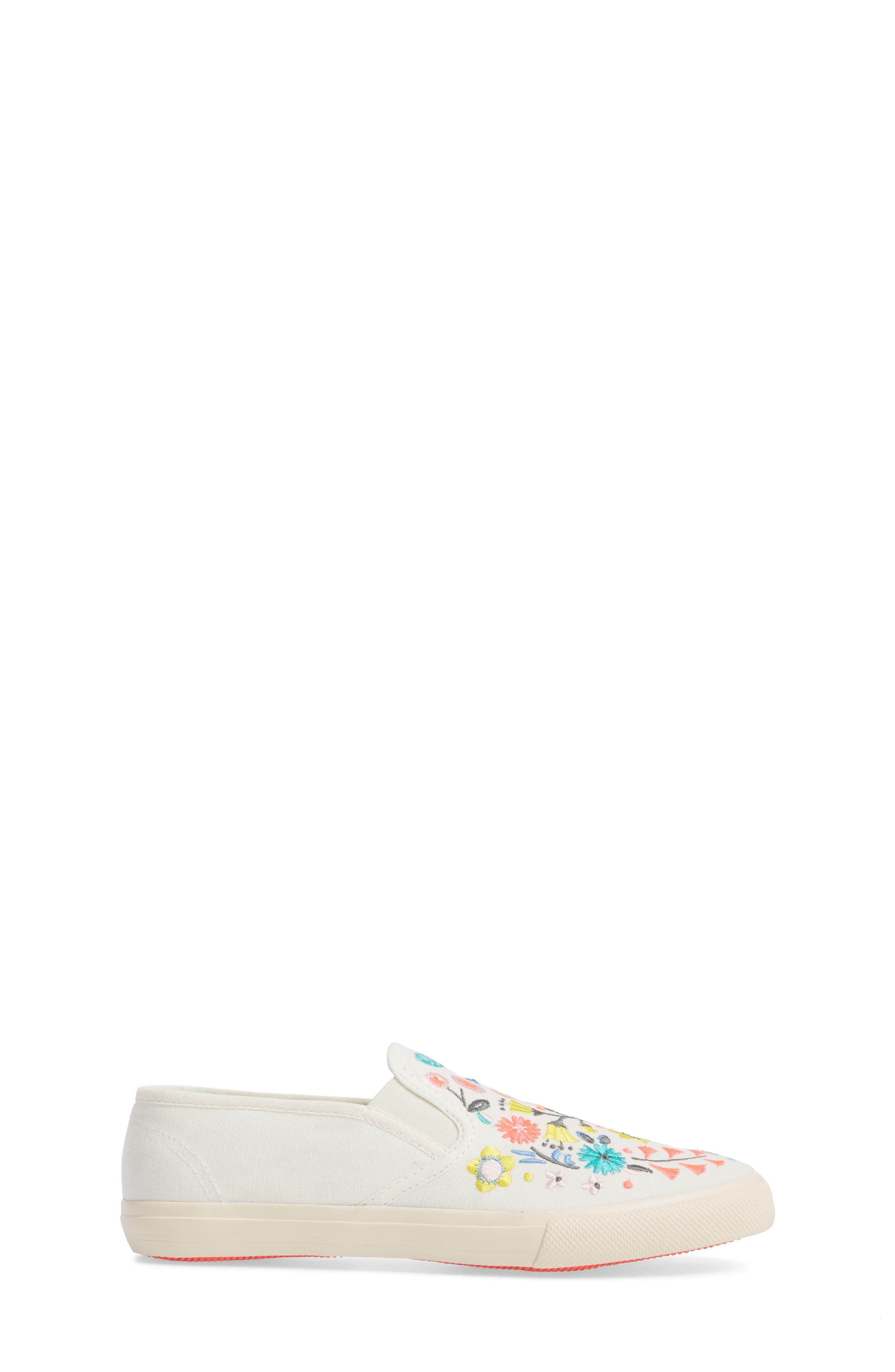 Boden Embroidered Slip-On Sneaker,                             Alternate thumbnail 3, color,                             Ecru
