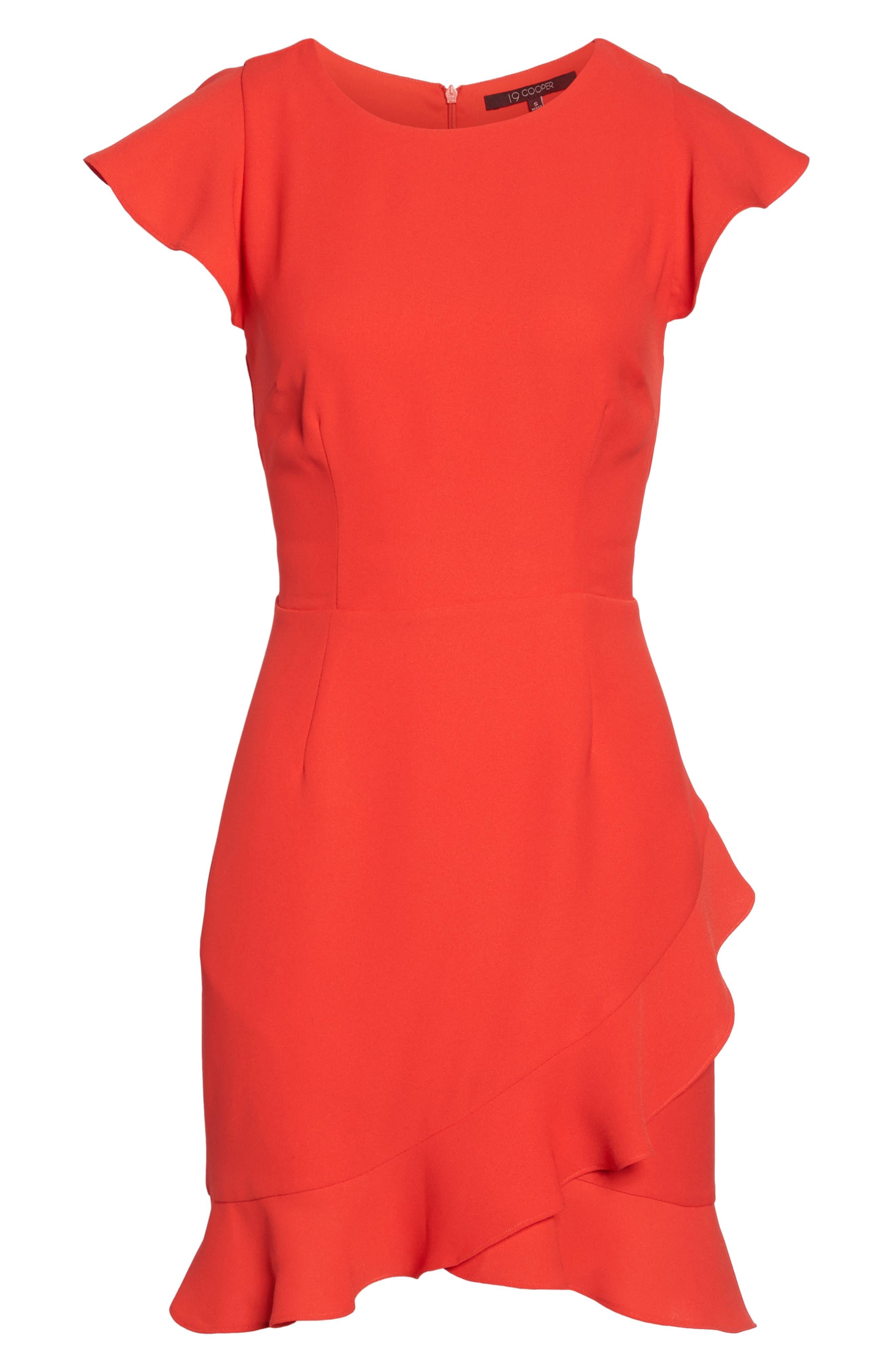 Ruffle Edge Sheath Dress,                             Alternate thumbnail 6, color,                             Coral
