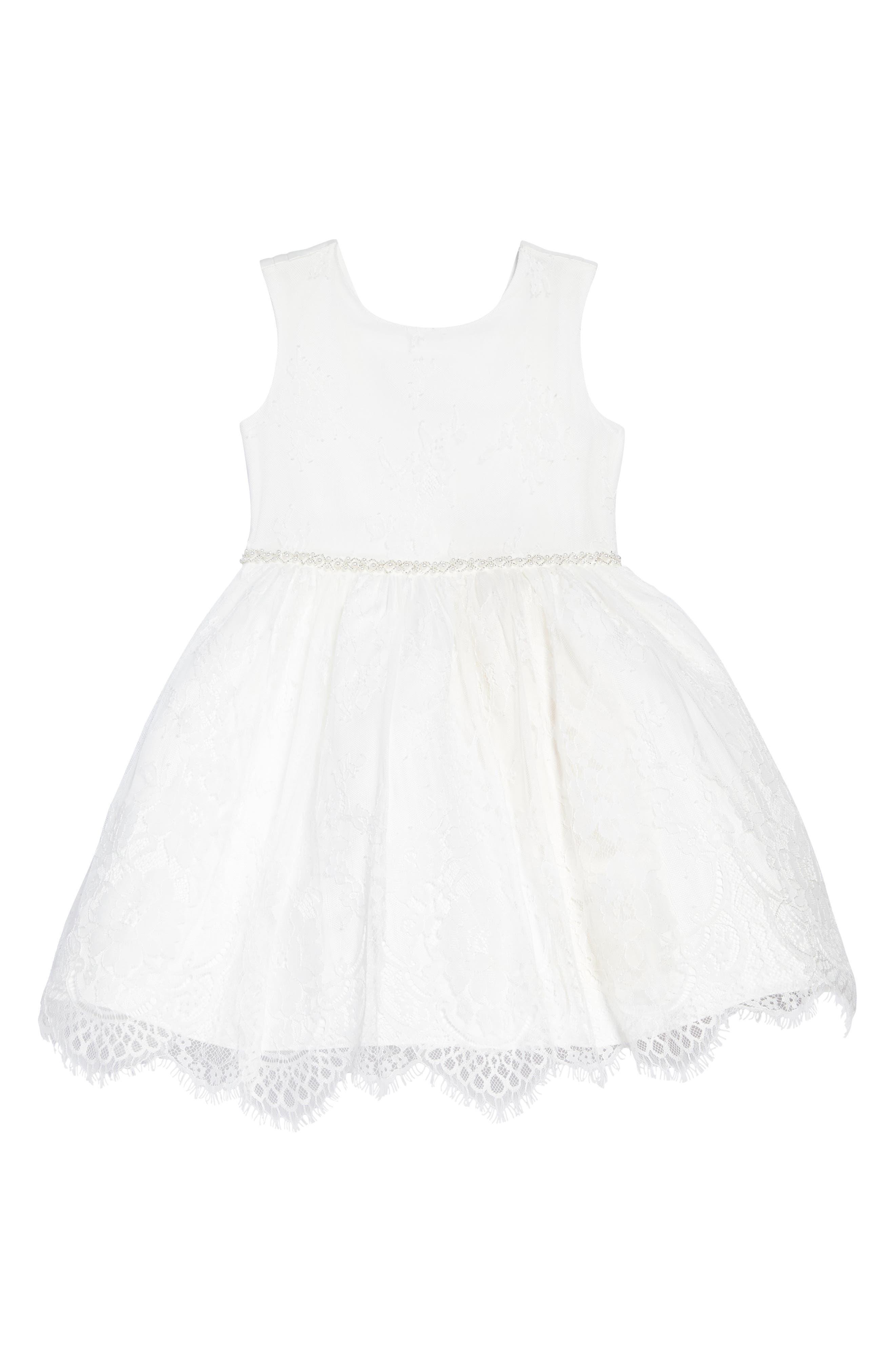 The Randi Floral Lace Dress,                             Main thumbnail 1, color,                             Ivory