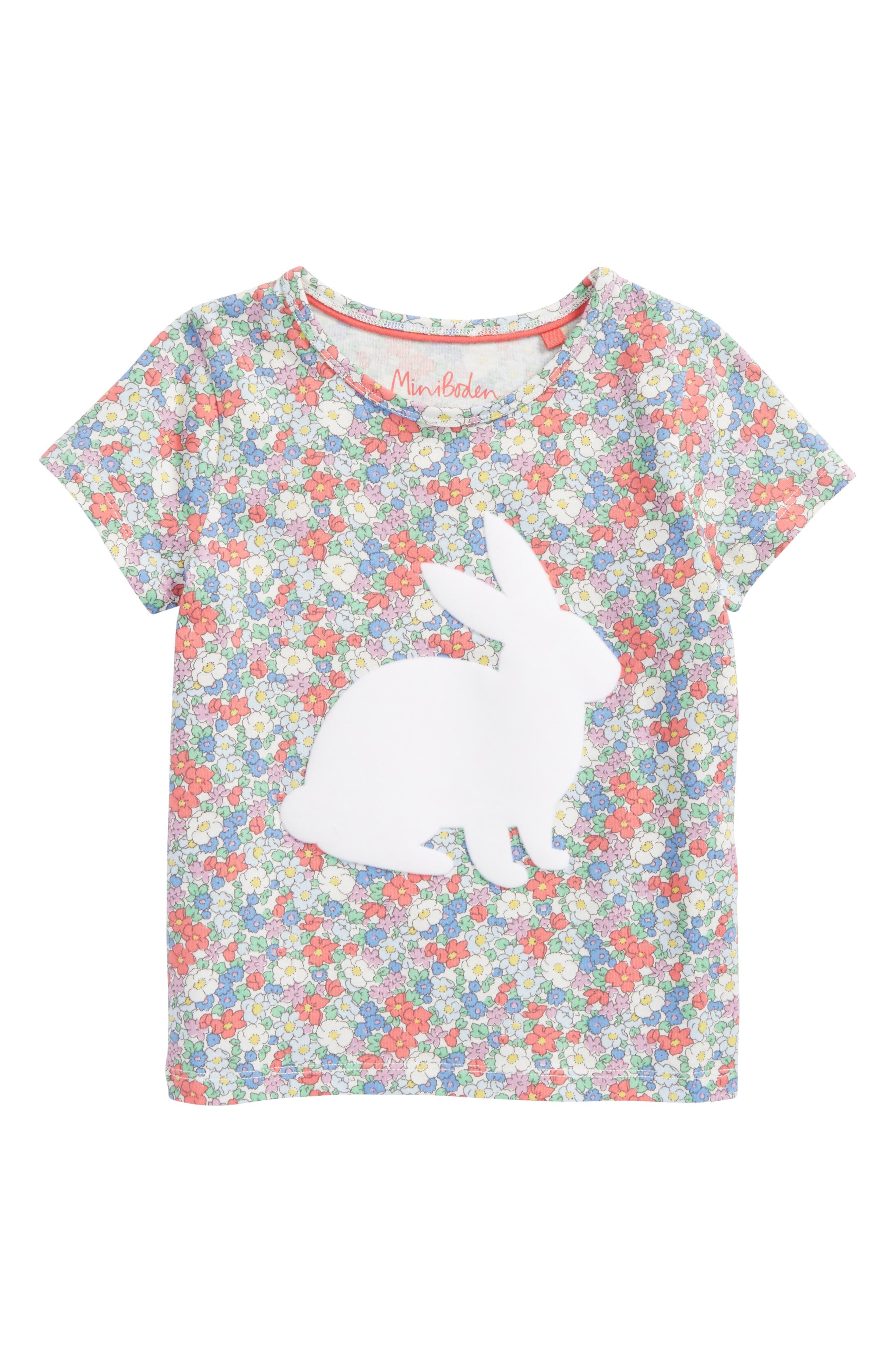 Floral Bunny Appliqué Tee,                         Main,                         color, Strawberry Floral Bunny
