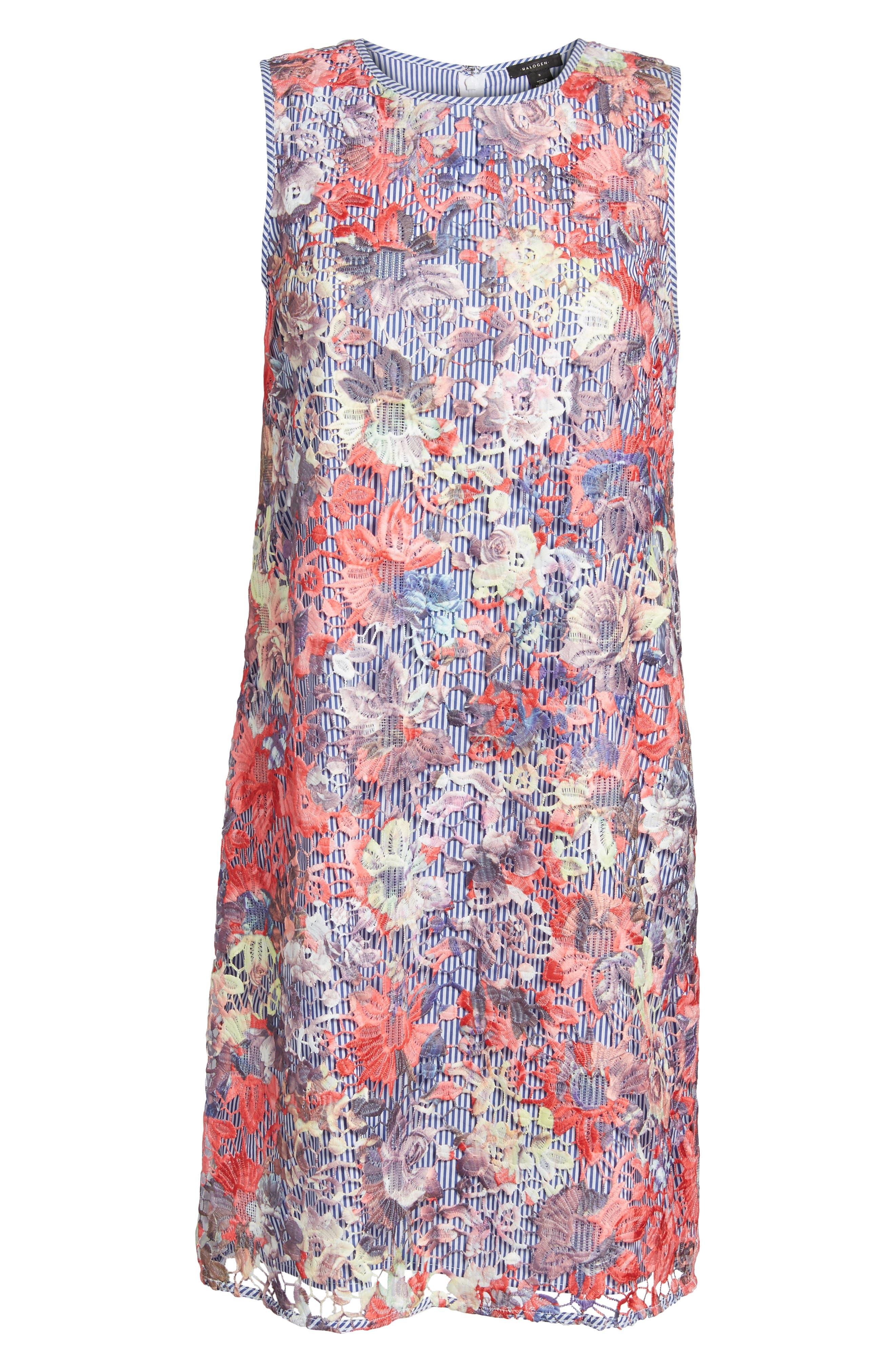 Lace Pinstripe Tank Dress,                             Alternate thumbnail 6, color,                             Coral Lace Pattern
