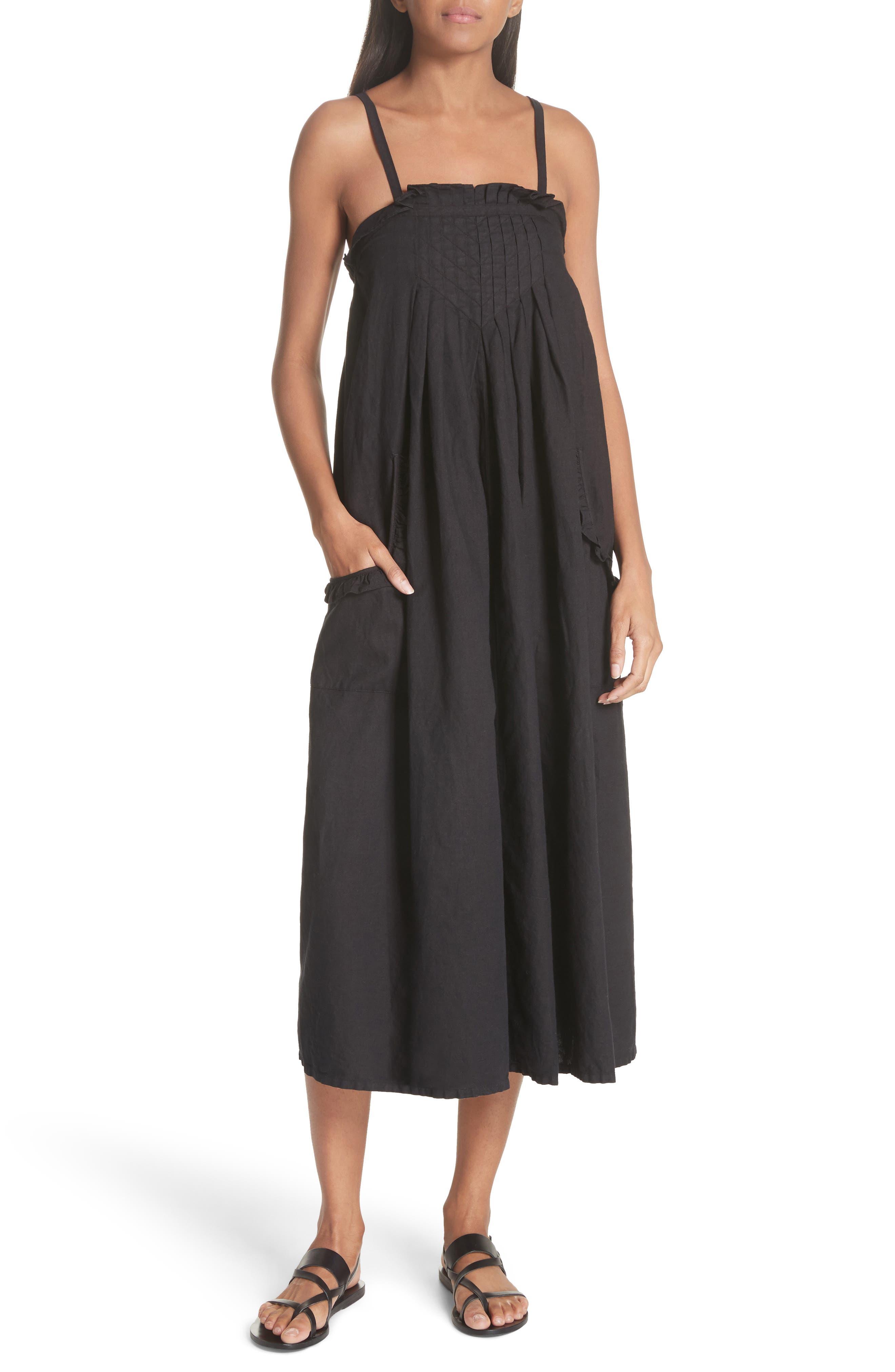 The Tulip Linen & Cotton Dress,                             Main thumbnail 1, color,                             Black