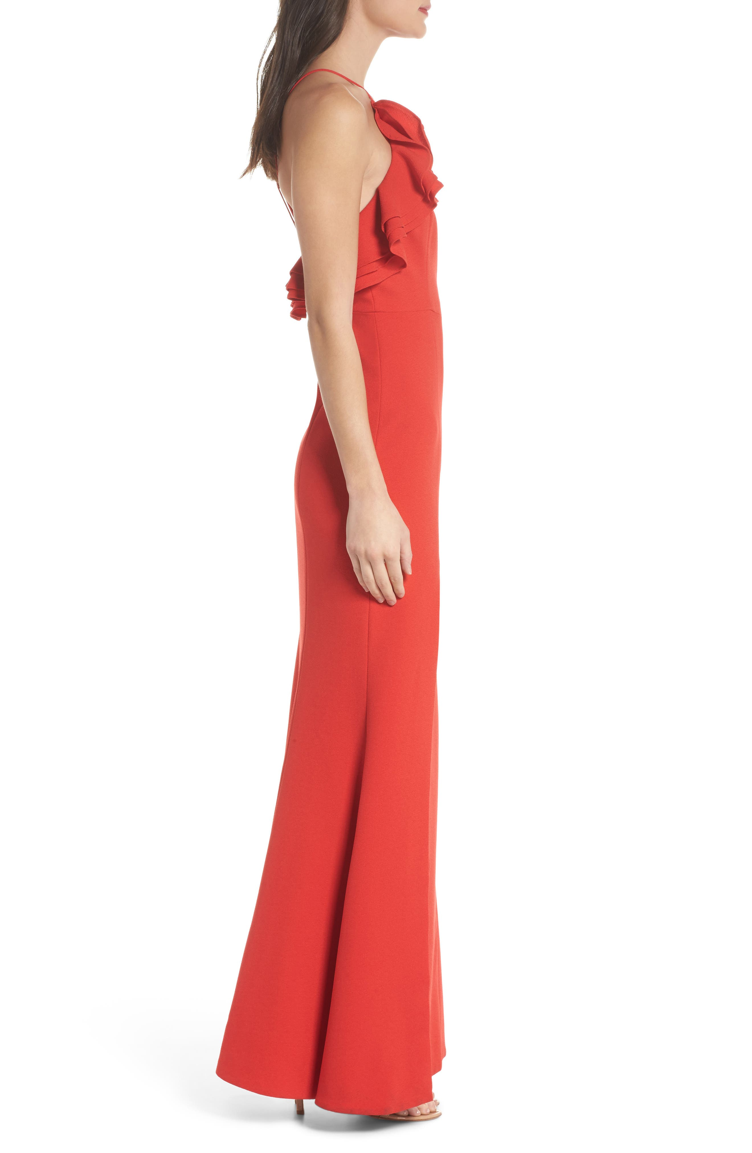 Ruffle Halter Gown,                             Alternate thumbnail 3, color,                             Cherry