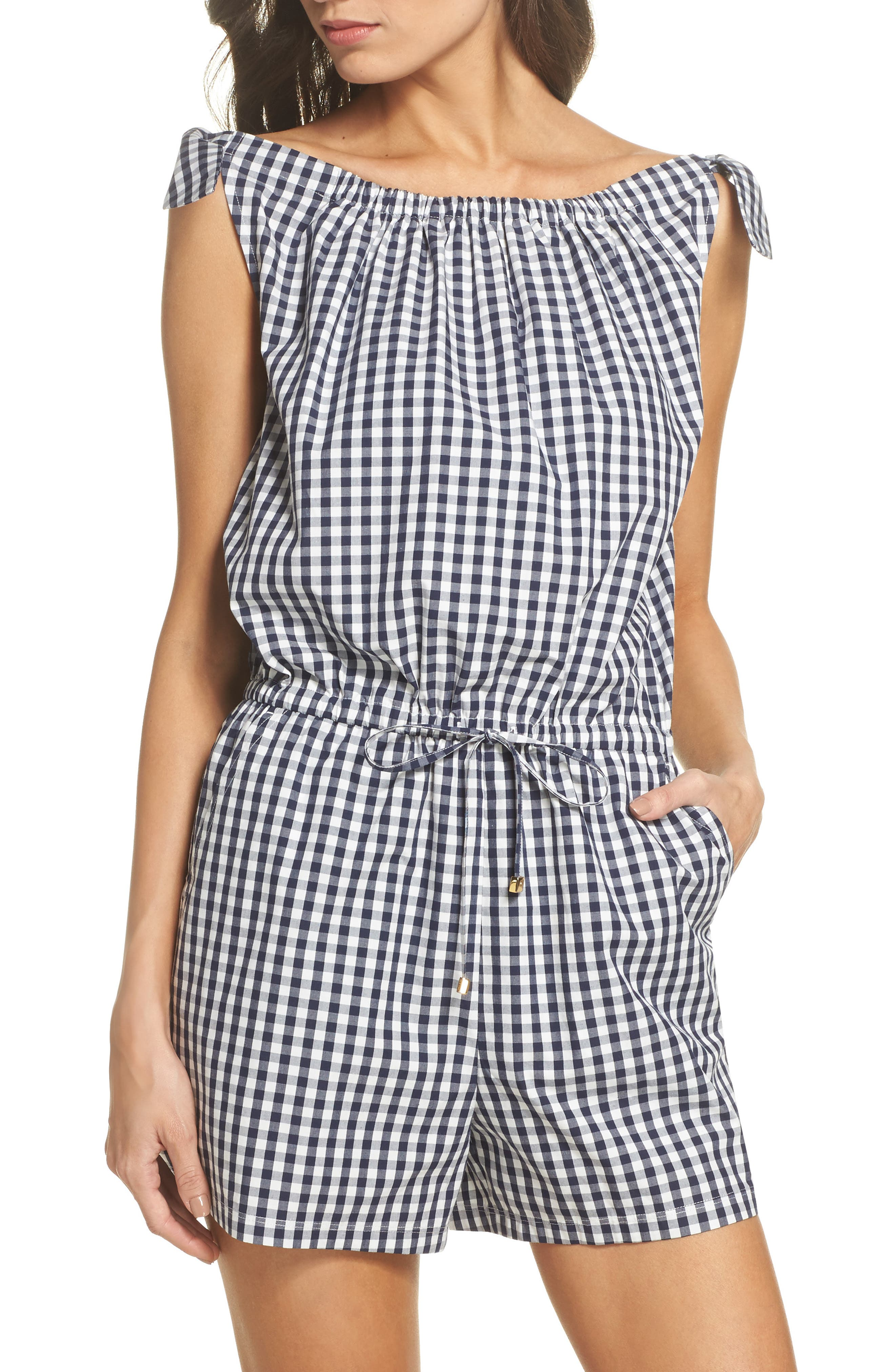 Gingham Check Romper,                         Main,                         color, Tory Navy