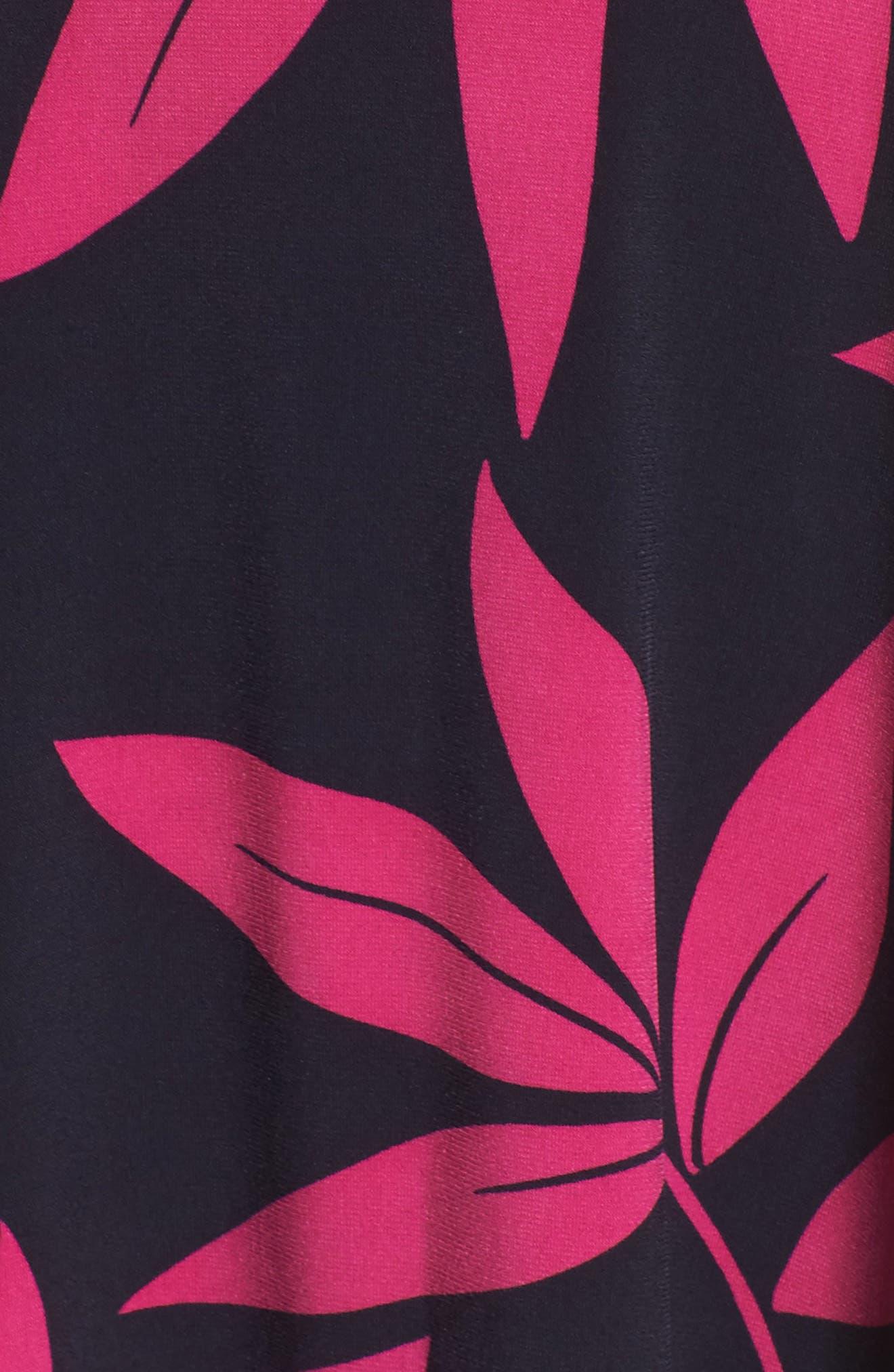 Leaf Print Faux Wrap Dress,                             Alternate thumbnail 5, color,                             Navy/ Pink Posie