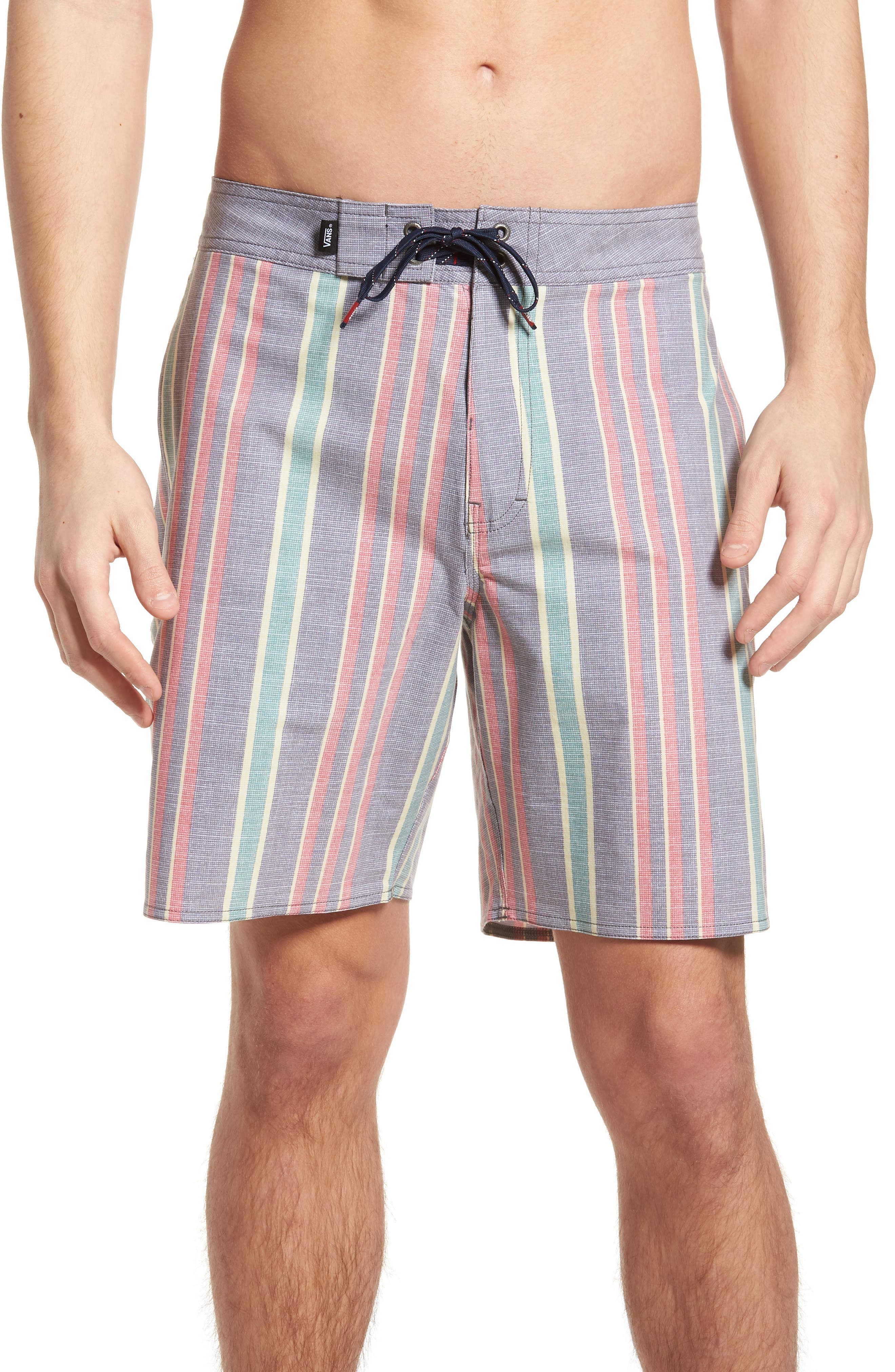 Vertical Stripe Board Shorts,                             Main thumbnail 1, color,                             Dress Blues