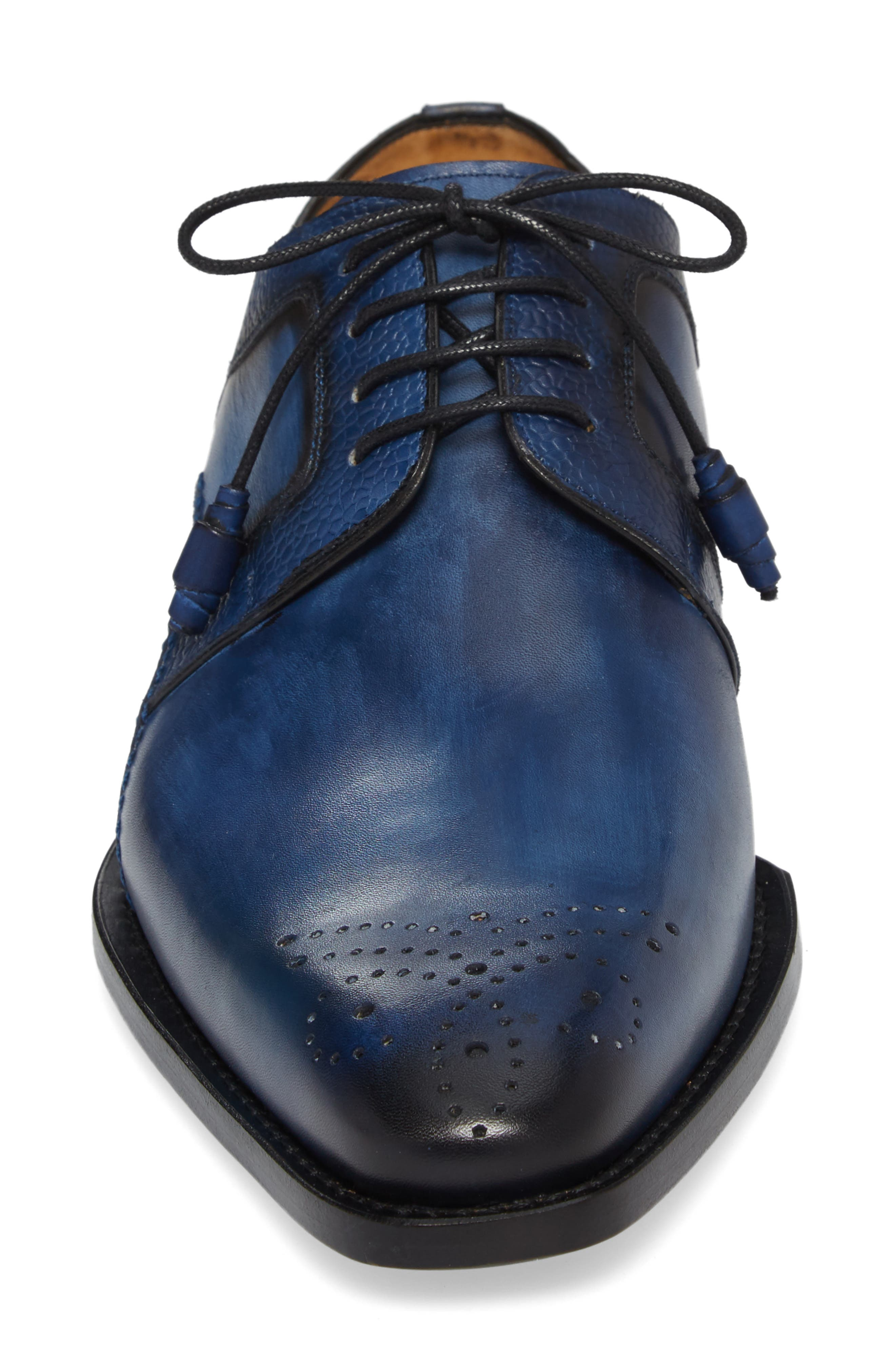 Saturno Medallion Toe Derby,                             Alternate thumbnail 4, color,                             Mid Blue Leather