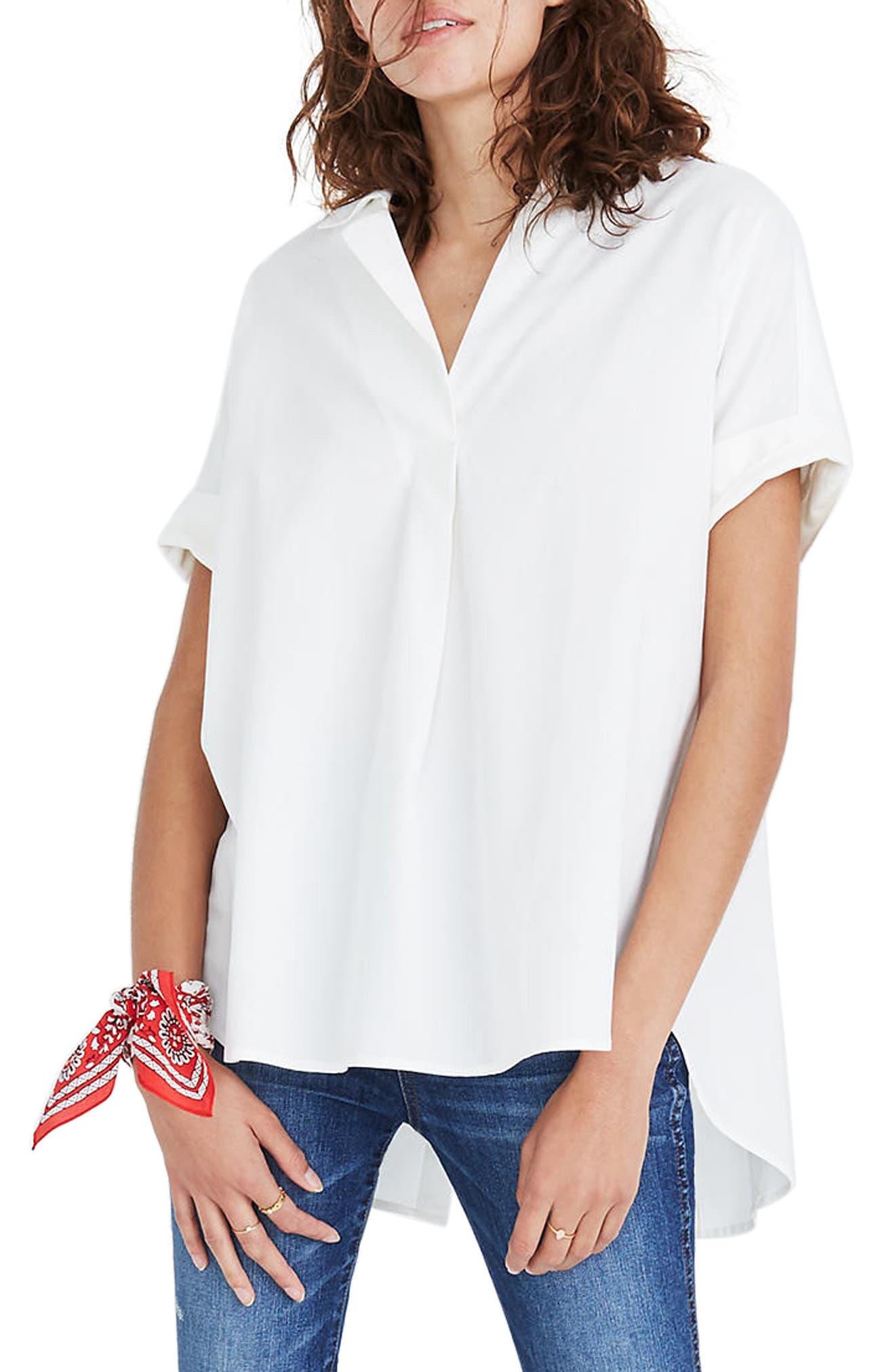 Courier Button Back Shirt,                             Main thumbnail 1, color,                             Pure White