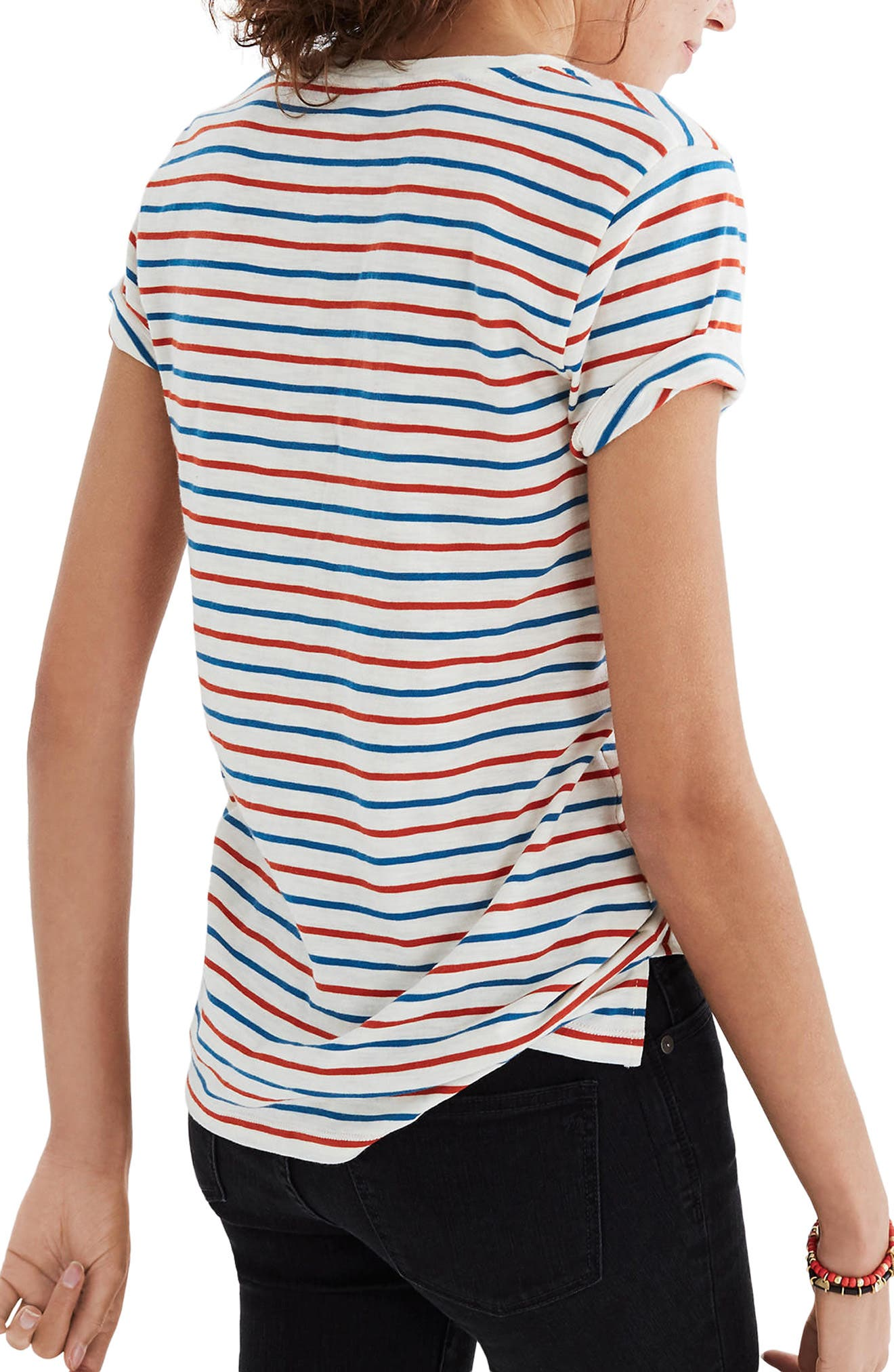 Whisper Cotton Stripe V-Neck Tee,                             Alternate thumbnail 2, color,                             Bright Ivory
