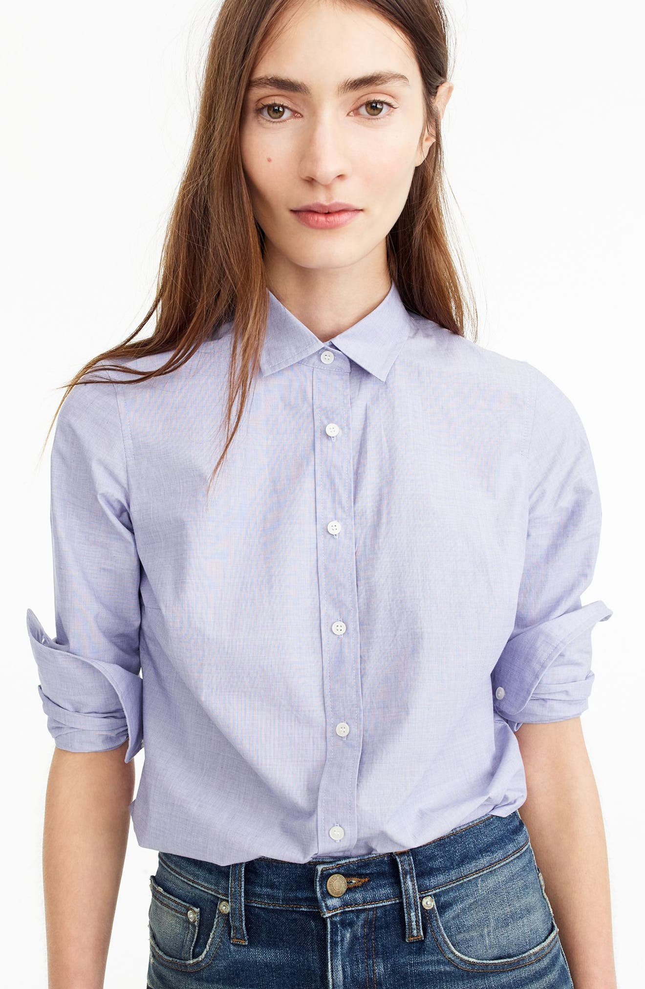 J.Crew New Perfect Shirt,                             Main thumbnail 1, color,                             Peri