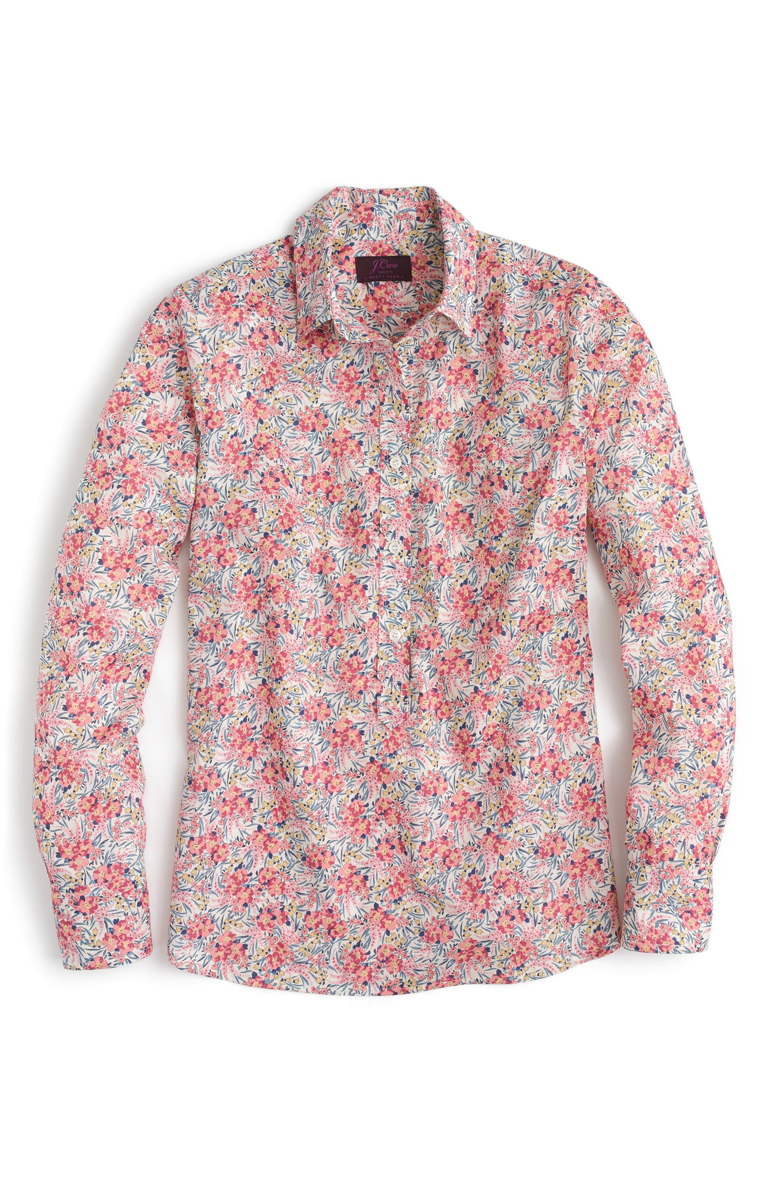 Classic Popover Blouse in Liberty<sup>®</sup> Swirling Petal Print,                             Alternate thumbnail 3, color,                             Ivory Multi
