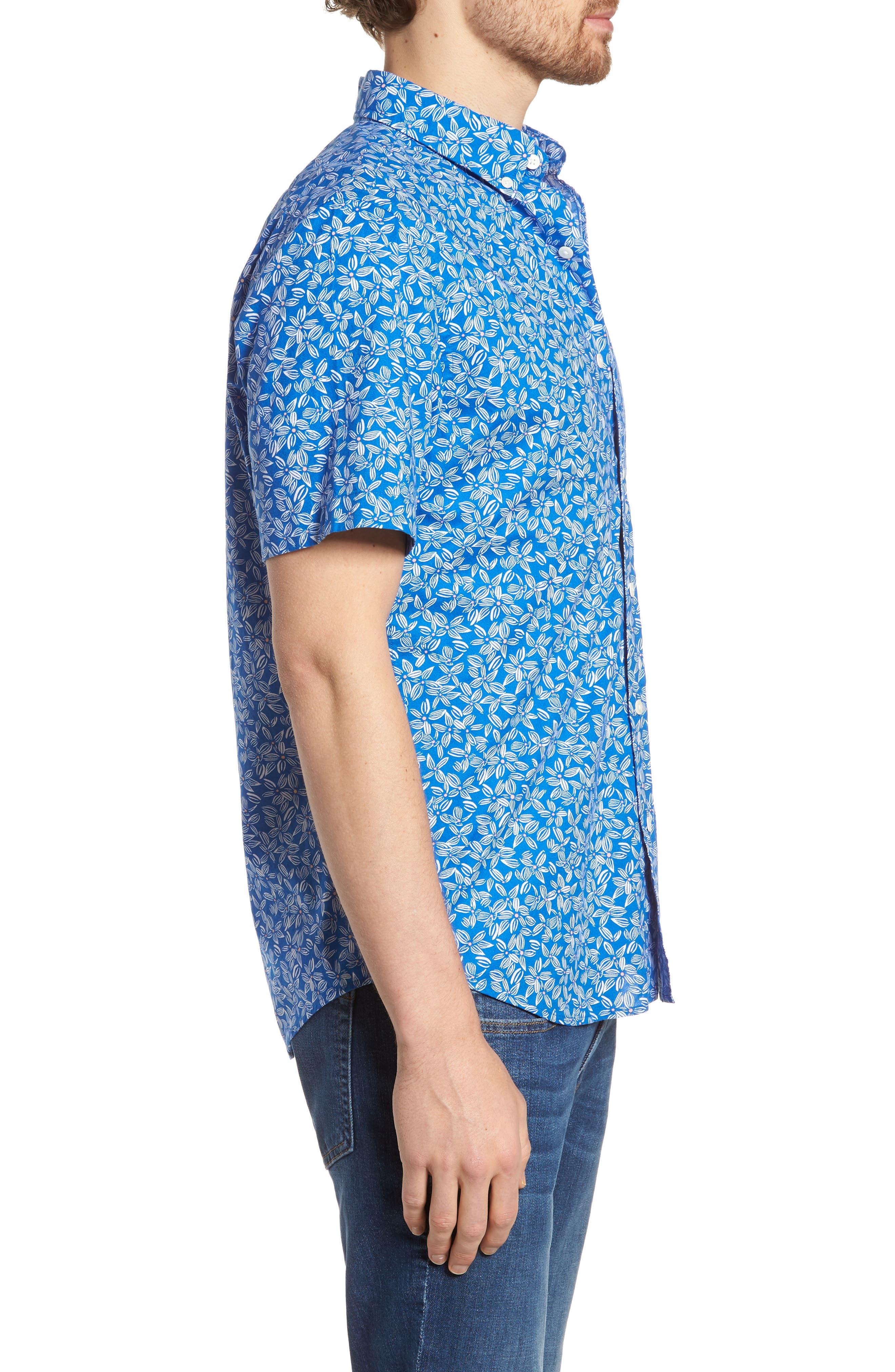 Linear Floral Slim Fit Print Short Sleeve Sport Shirt,                             Alternate thumbnail 3, color,                             Spinnaker