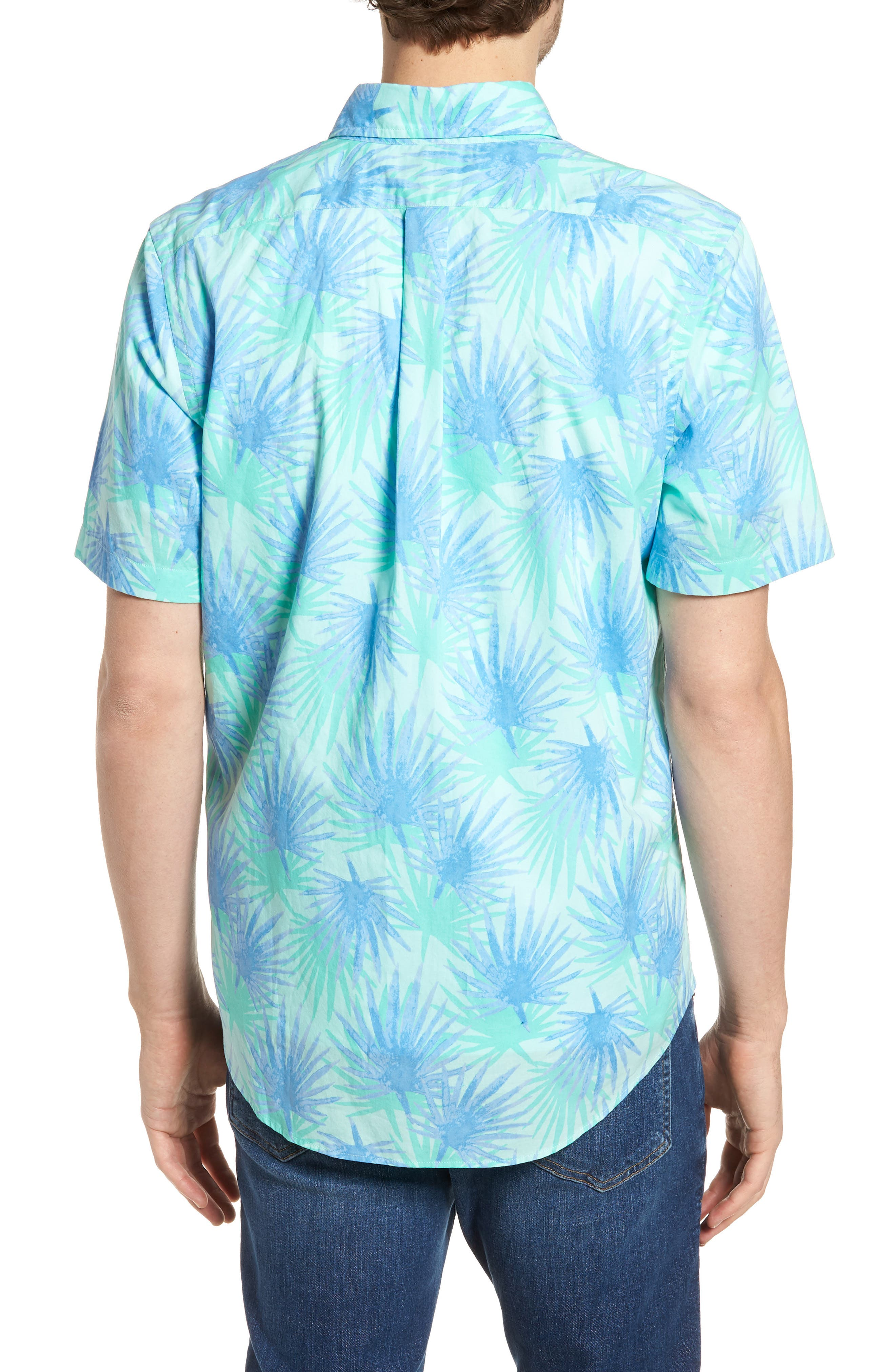 Electric Palm Slim Fit Print Short Sleeve Sport Shirt,                             Alternate thumbnail 2, color,                             Aquamarine