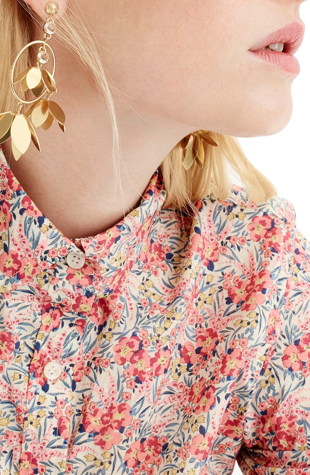 Classic Popover Blouse in Liberty<sup>®</sup> Swirling Petal Print,                             Alternate thumbnail 2, color,                             Ivory Multi