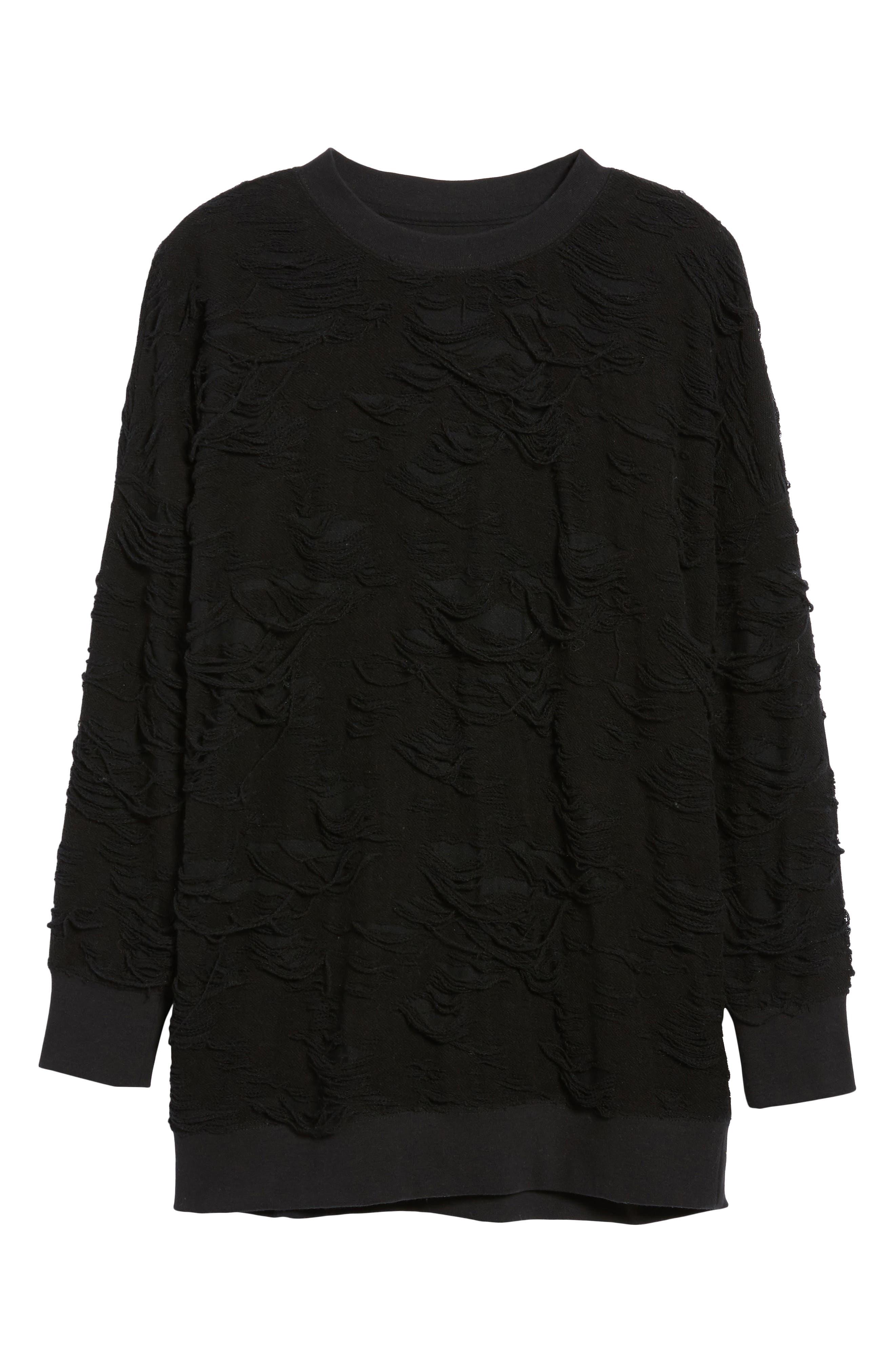 Me Too Slashed Sweatshirt,                             Alternate thumbnail 6, color,                             Black