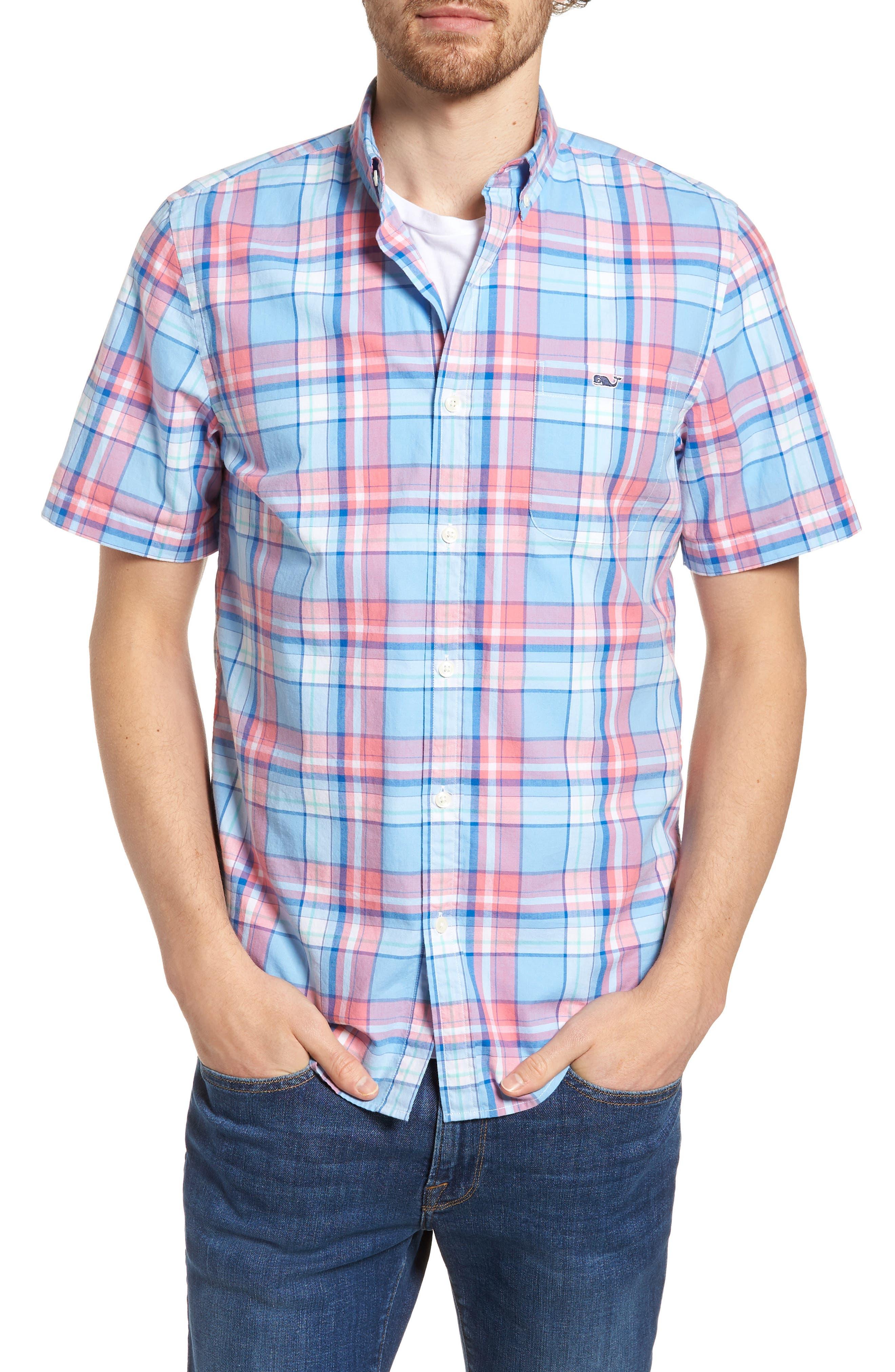 Bluff House Plaid Sport Shirt,                         Main,                         color, Ocean Breeze