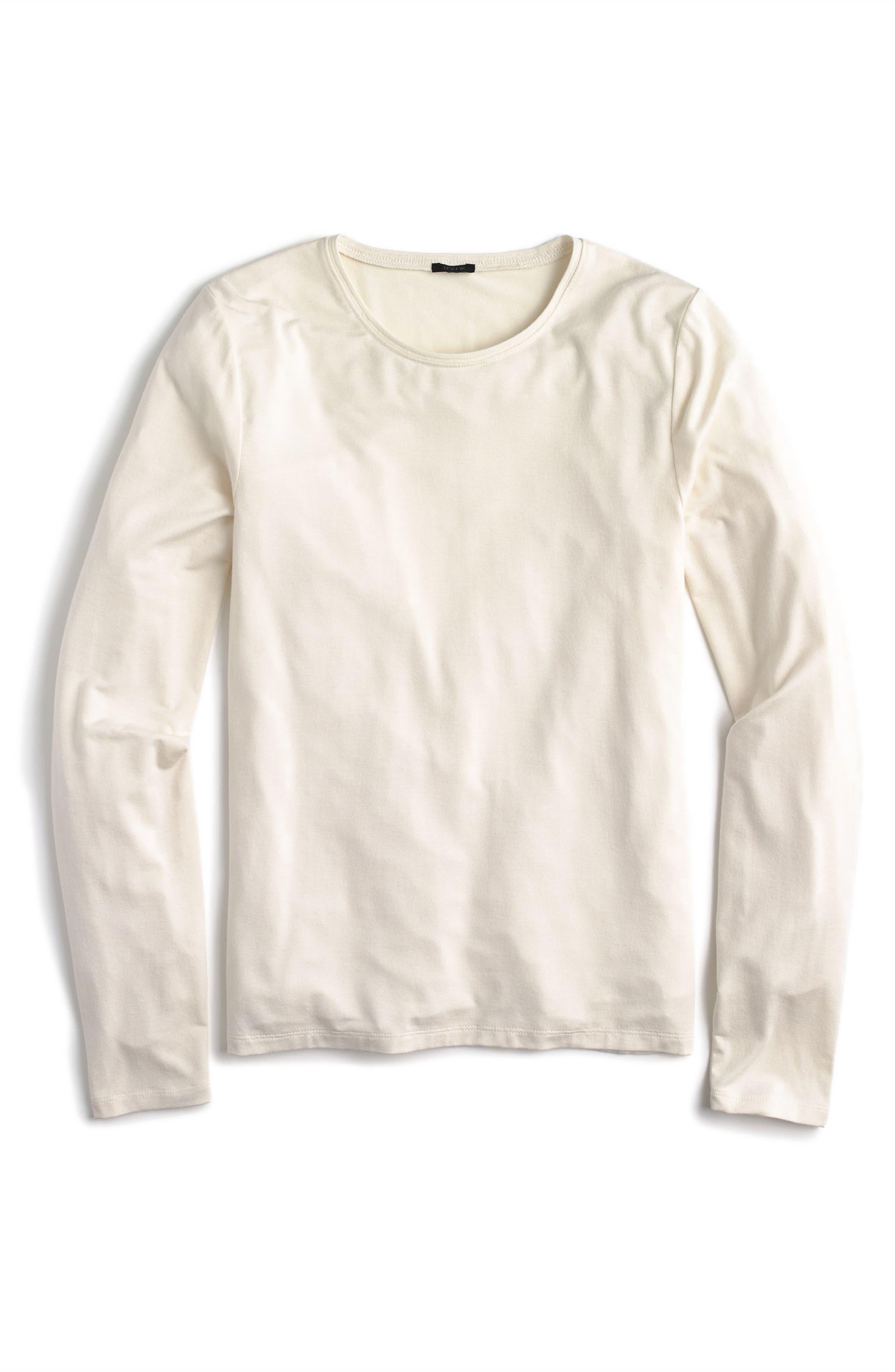 J.Crew Long Sleeve Tee,                         Main,                         color, Fresh Linen