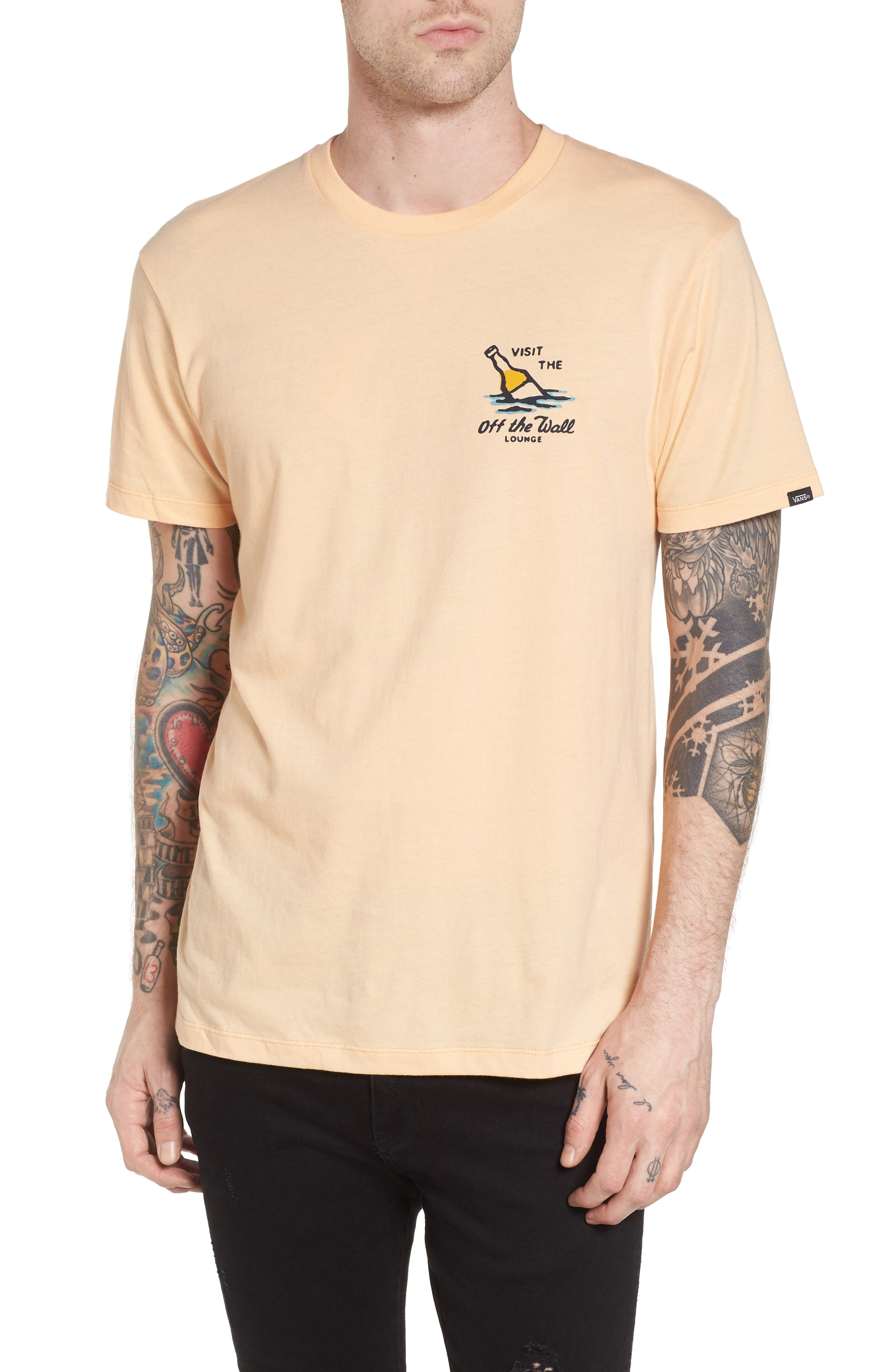 Off the Wall Lounge T-Shirt,                             Main thumbnail 1, color,                             Apricot Ice