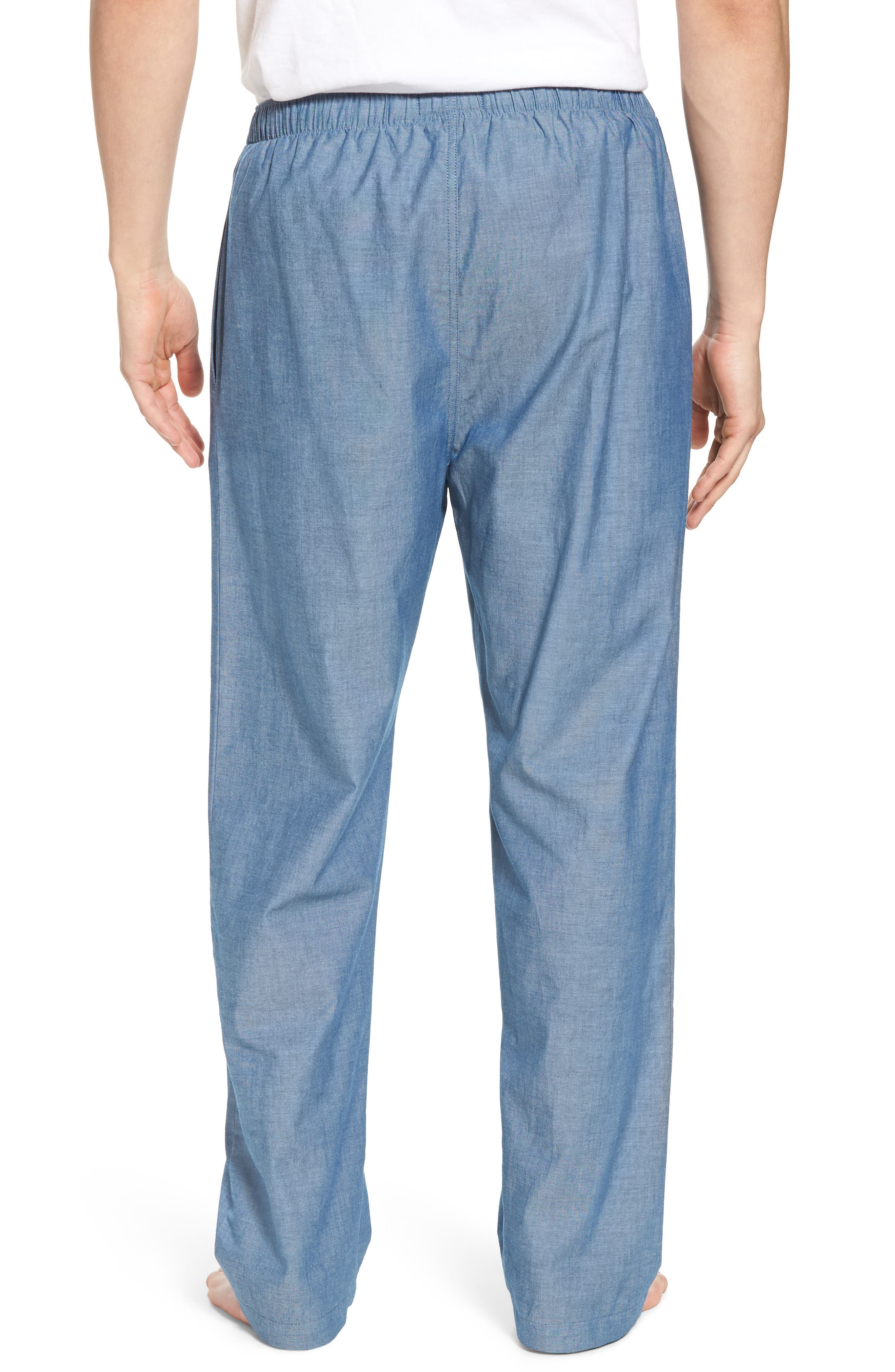 Chambray Woven Lounge Pants,                             Alternate thumbnail 2, color,                             Medium Indigo/ Dark Indigo