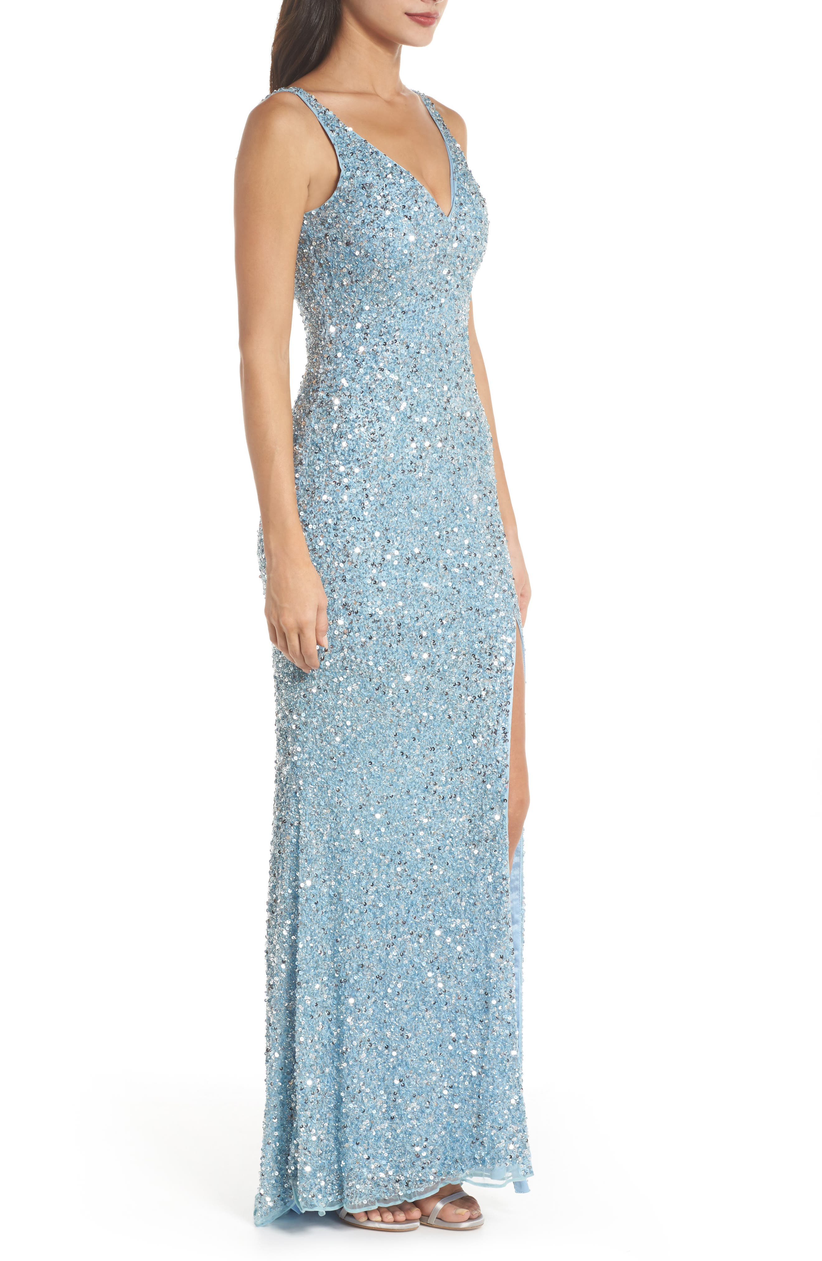 V-Neck Sequin Gown,                             Alternate thumbnail 3, color,                             Powder Blue