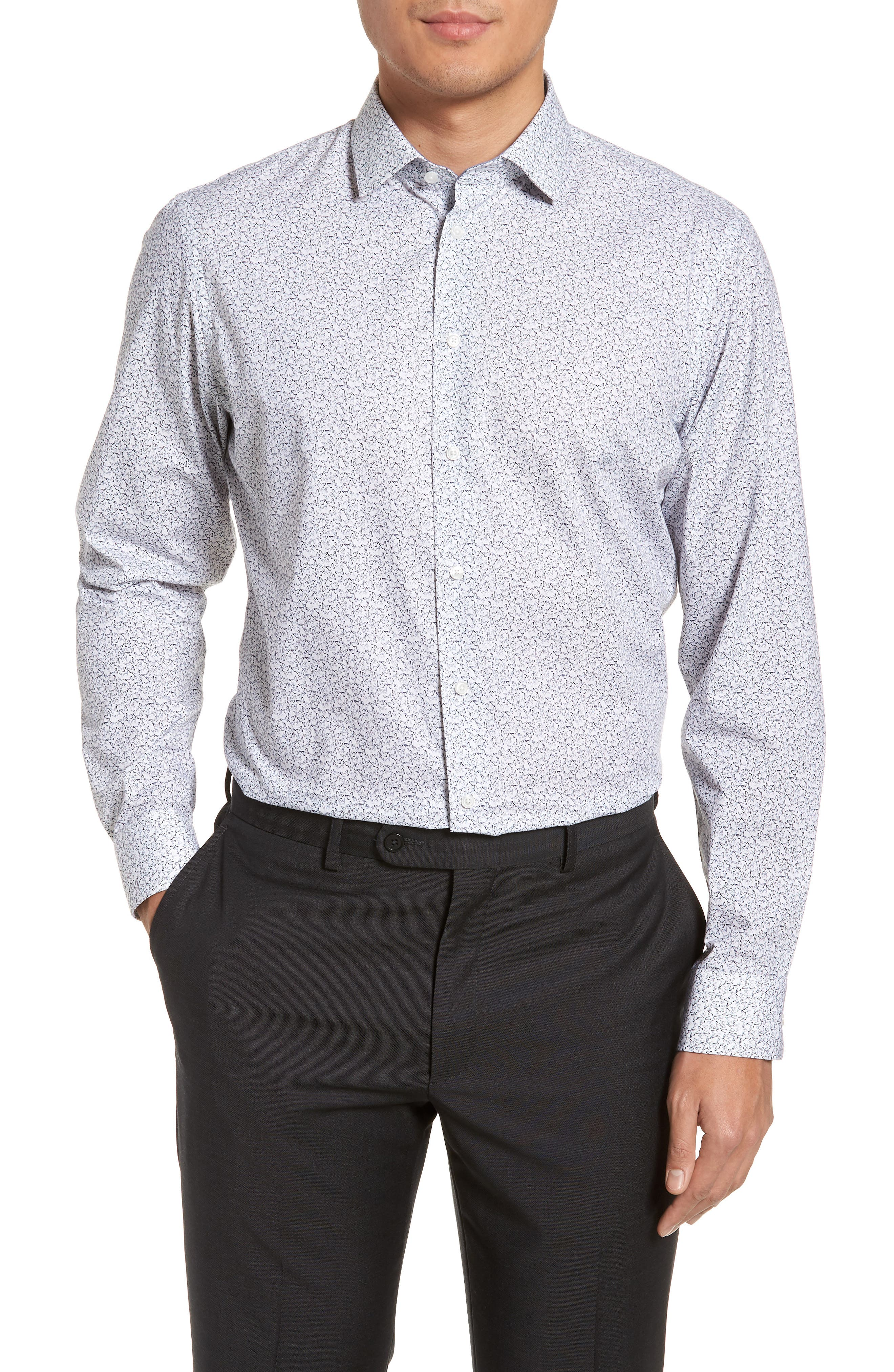 Trim Fit Butterfly Print Sport Shirt,                         Main,                         color, White
