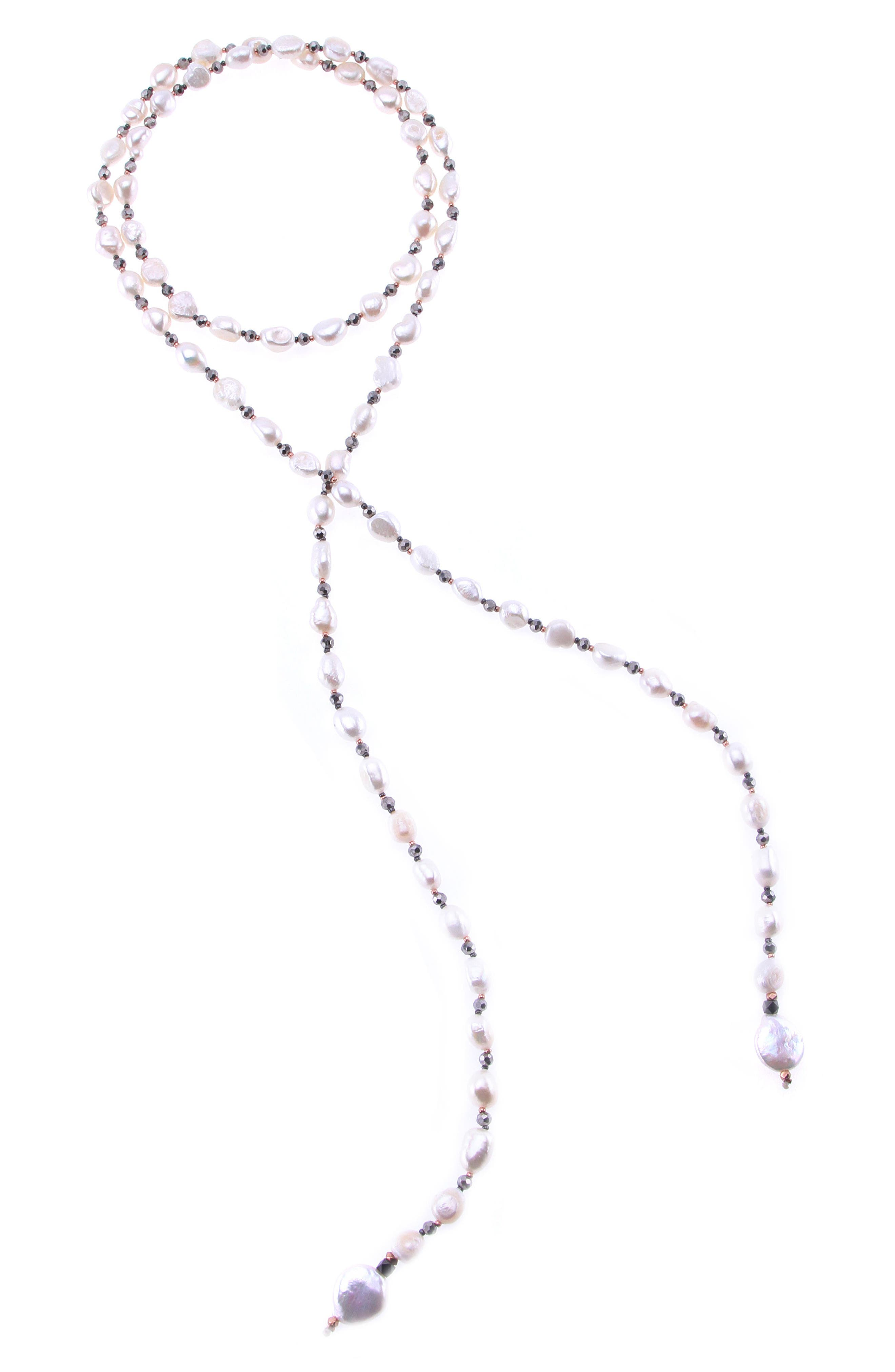 Freshwater Pearl Lariat Necklace,                             Main thumbnail 1, color,                             Pearl