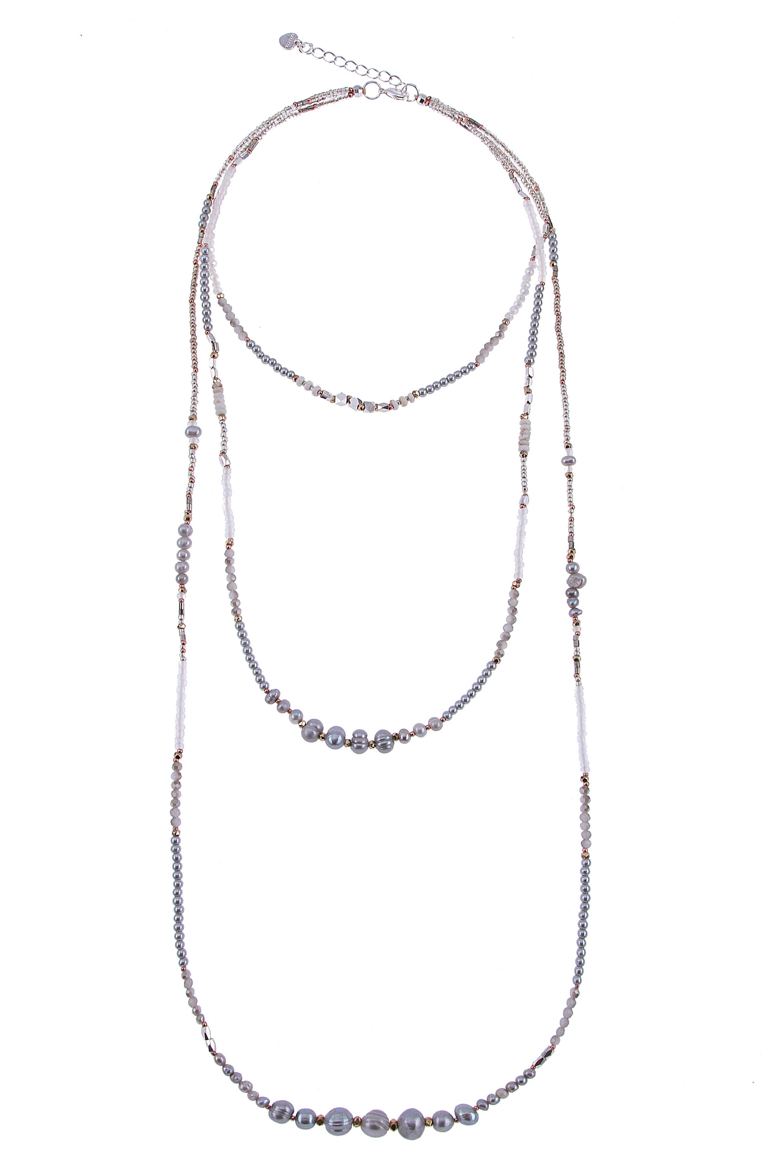 Triple Strand Beaded Freshwater Pearl Necklace,                         Main,                         color, Silver