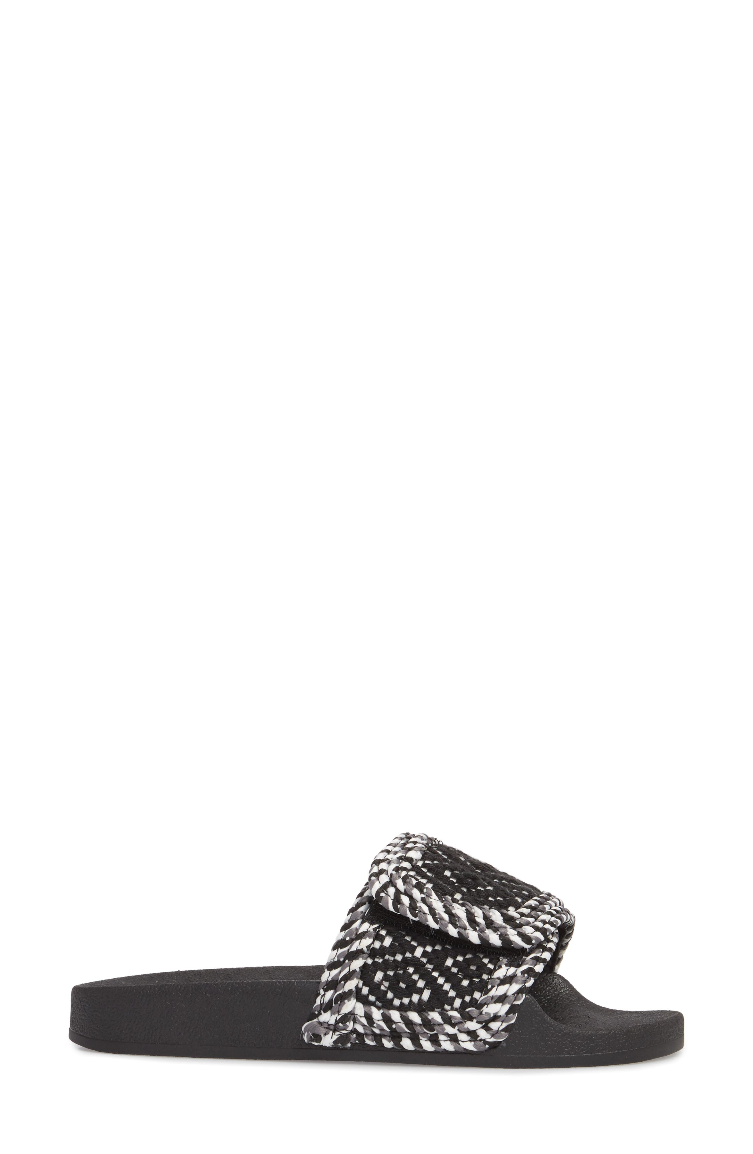 Tressa Woven Slide Sandal,                             Alternate thumbnail 3, color,                             Black/ White Woven Fabric