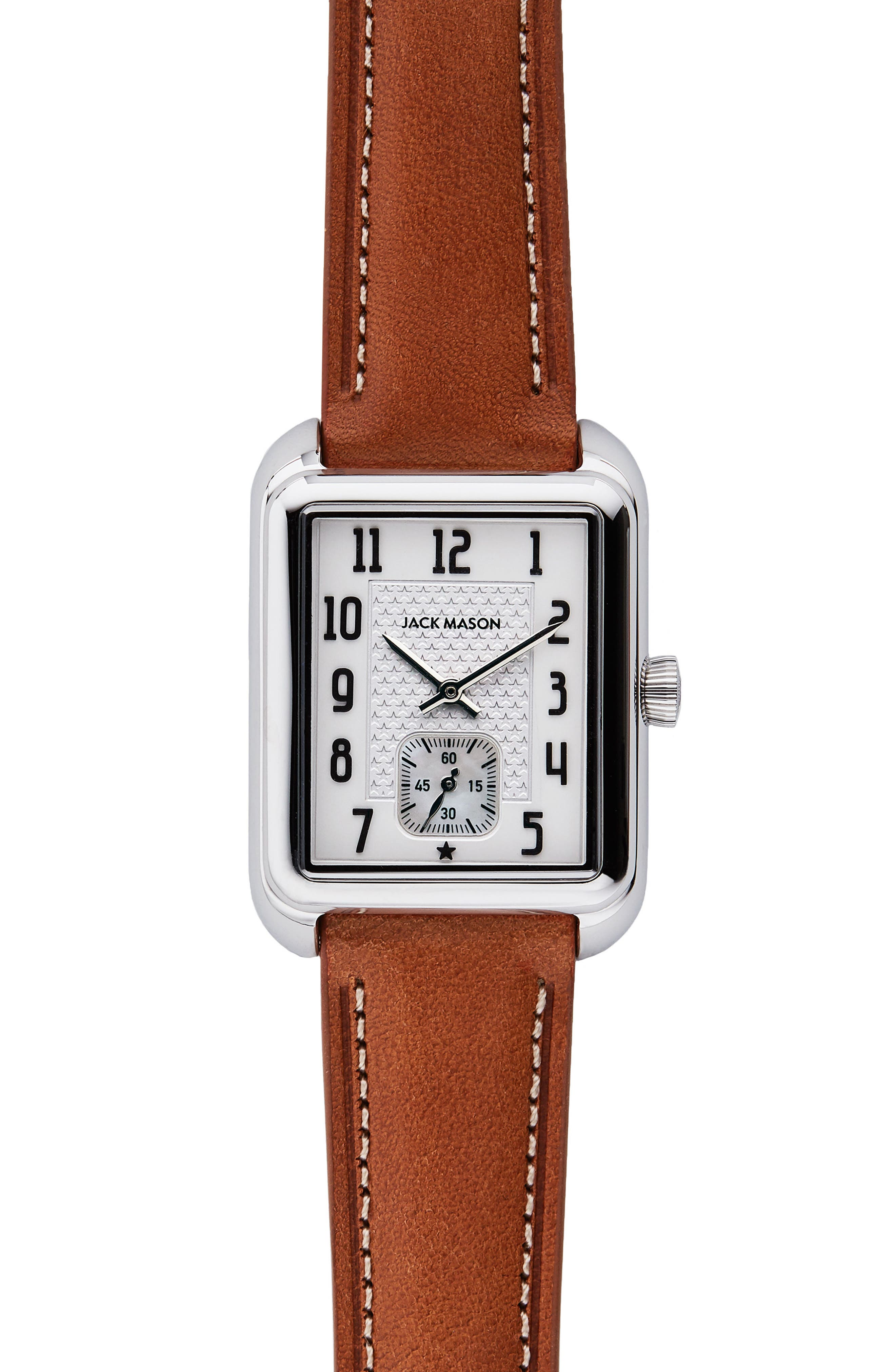 Issue No. 2 Leather Strap Watch, 34mm x 28mm,                             Main thumbnail 1, color,                             Tan/ White/ Silver