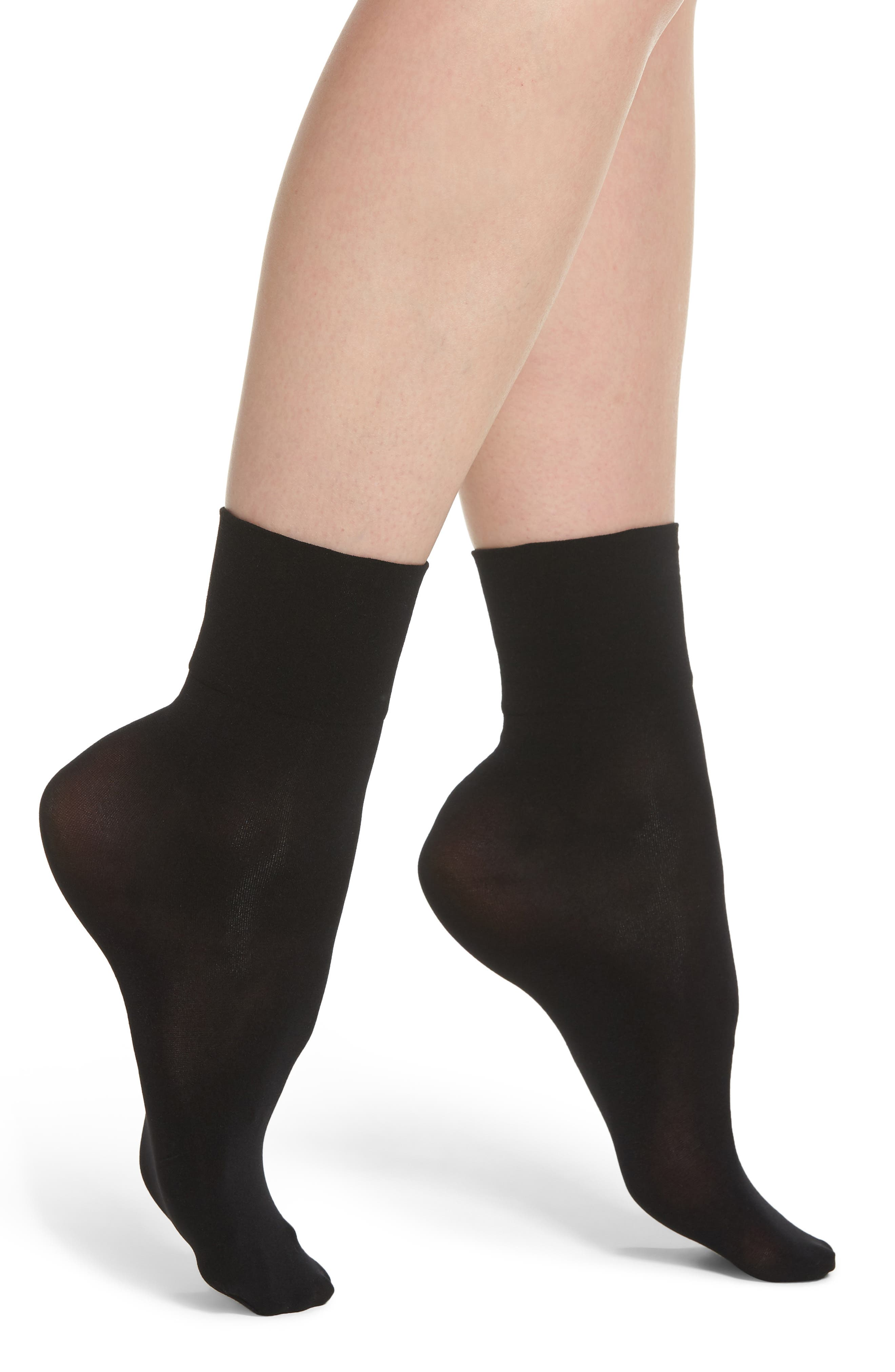 Opaque Anklet Socks,                             Main thumbnail 1, color,                             Black