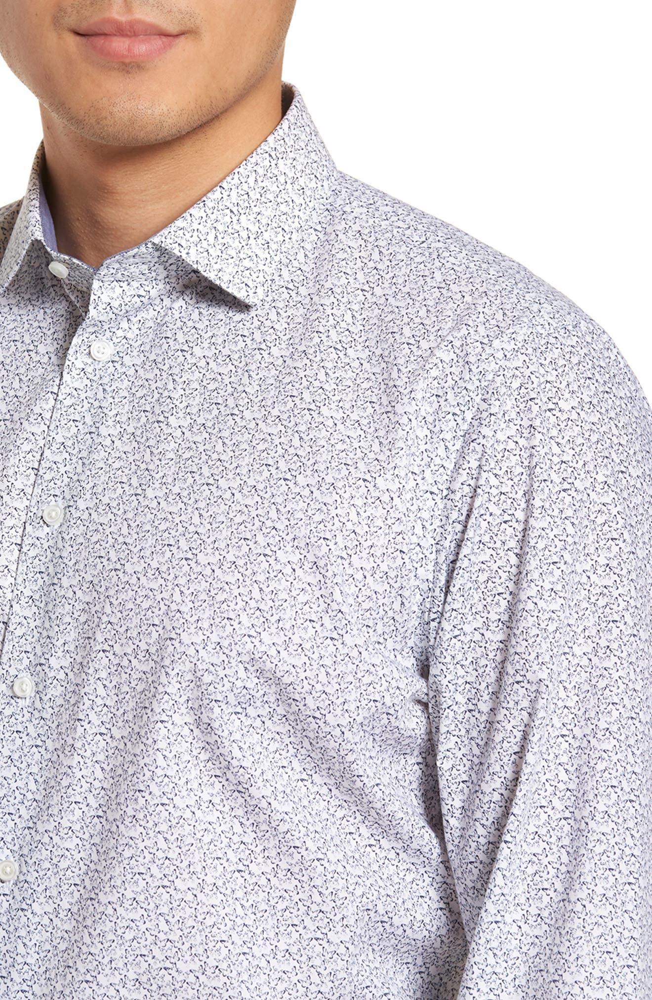 Trim Fit Butterfly Print Sport Shirt,                             Alternate thumbnail 3, color,                             White