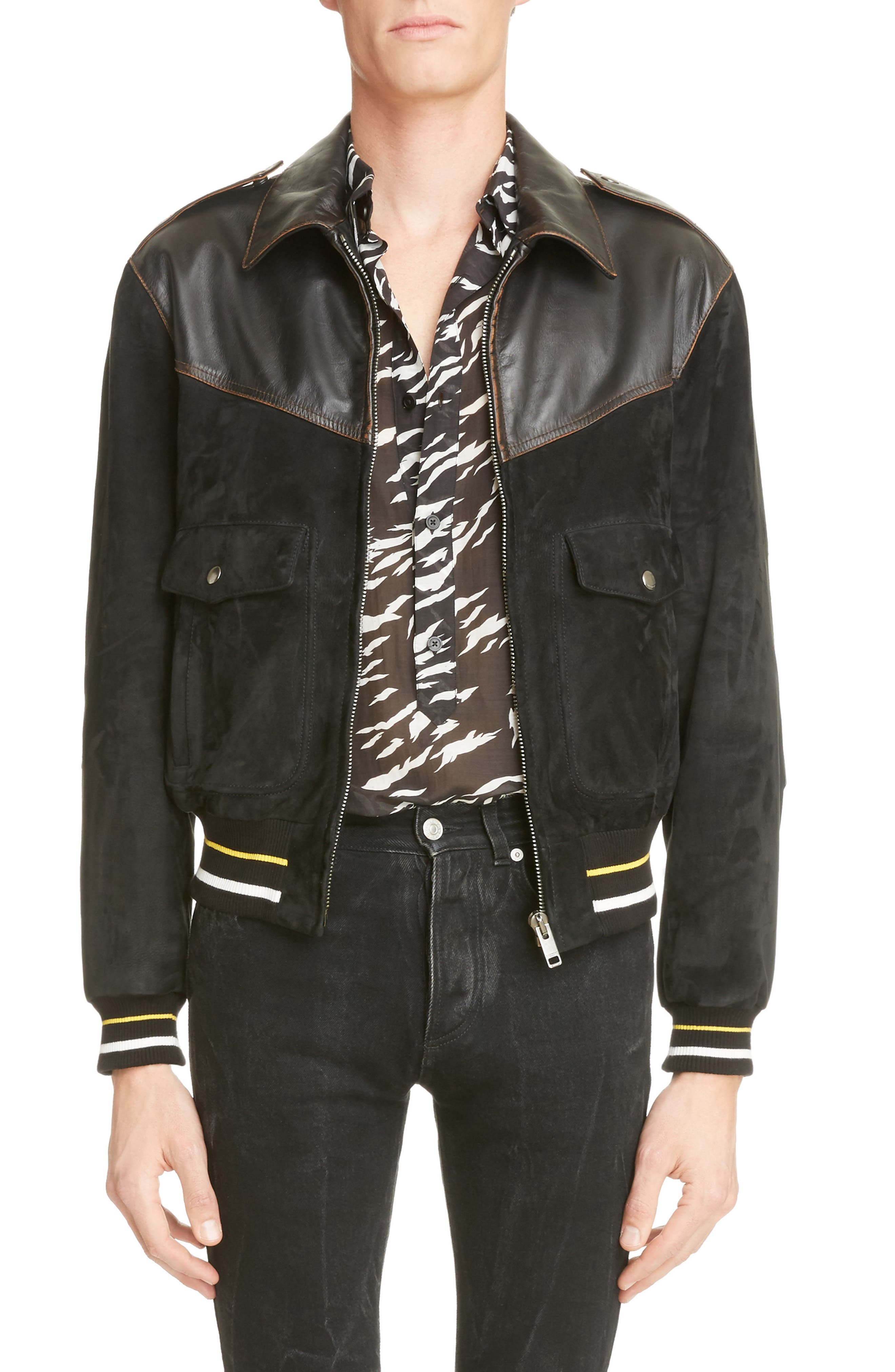 Suede & Leather Bomber Jacket,                             Main thumbnail 1, color,                             Black