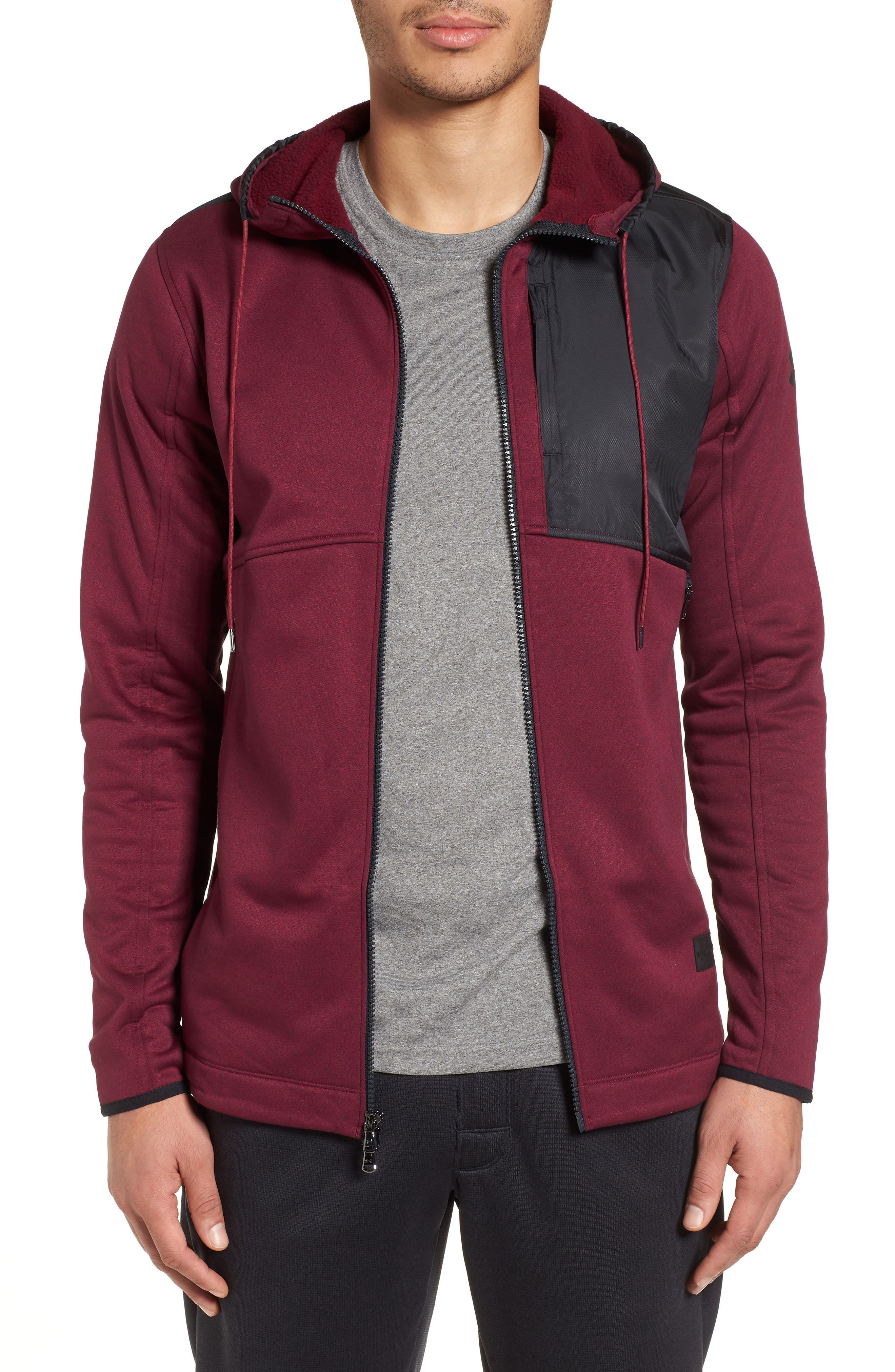 Courtside Stealth Zip Hoodie,                         Main,                         color, Black Currant / Black