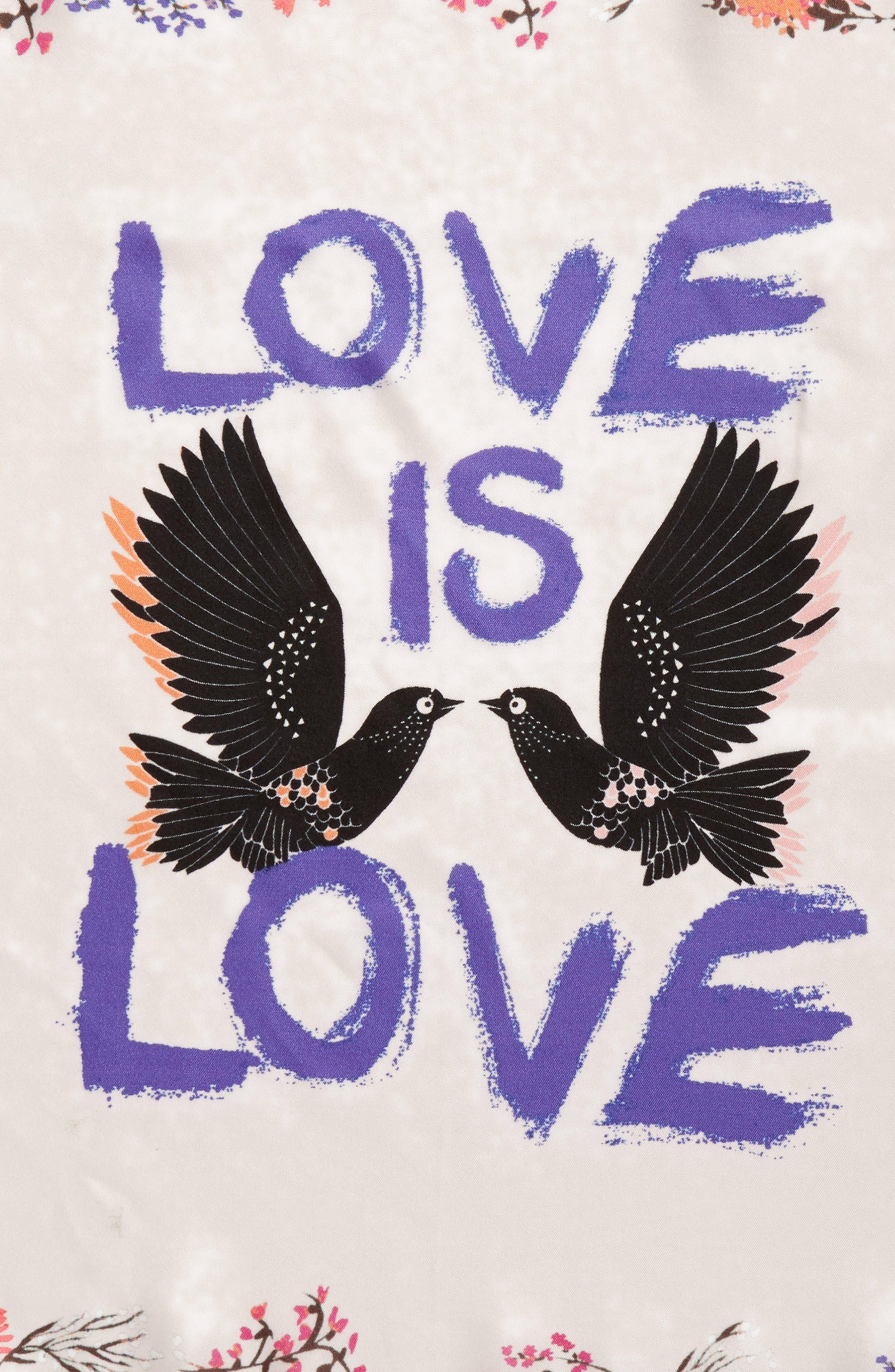 Love Doves Silk Bandana,                             Alternate thumbnail 4, color,                             Whisper Pink
